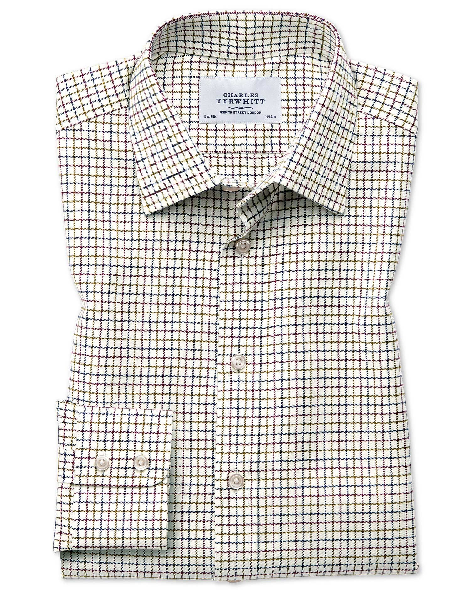 Classic Fit Country Check Purple and Green Cotton Formal Shirt Single Cuff Size 16.5/33 by Charles T
