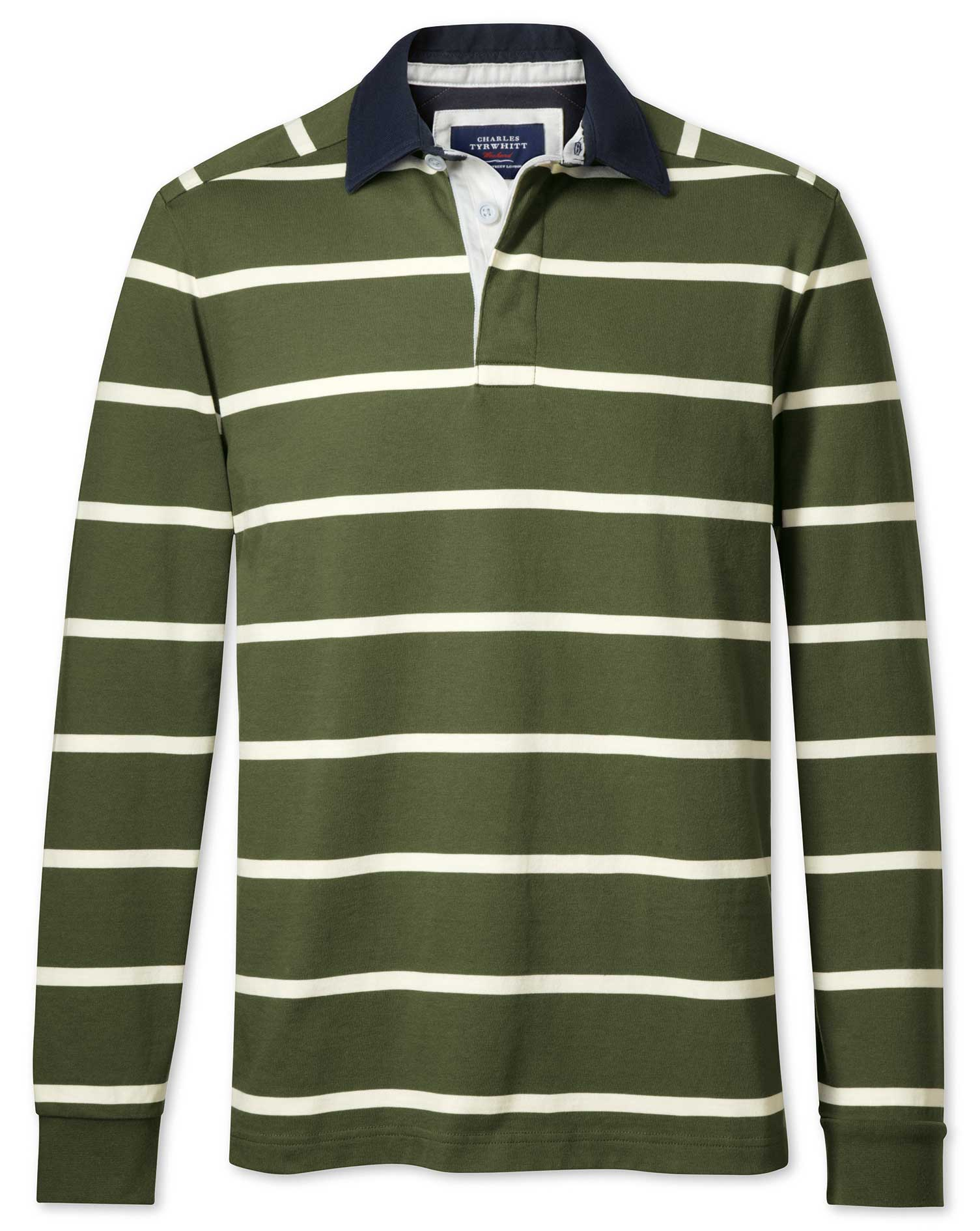 Olive Stripe Rugby Cotton Shirt Size XS by Charles Tyrwhitt