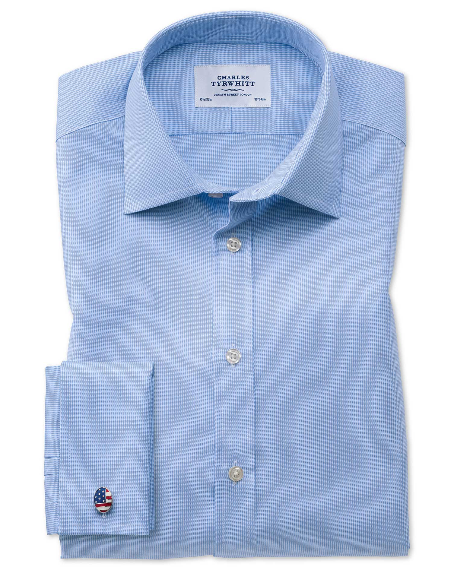 Extra Slim Fit Oxford Sky Blue Cotton Formal Shirt Double Cuff Size 15.5/36 by Charles Tyrwhitt