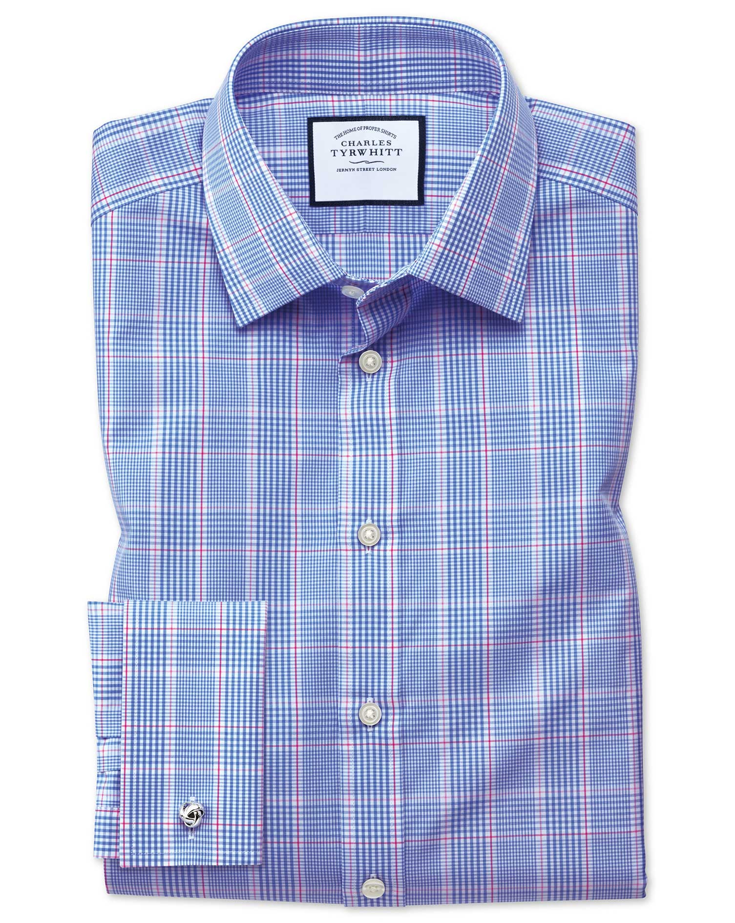 Slim Fit Prince Of Wales Blue Cotton Formal Shirt Single Cuff Size 15/34 by Charles Tyrwhitt