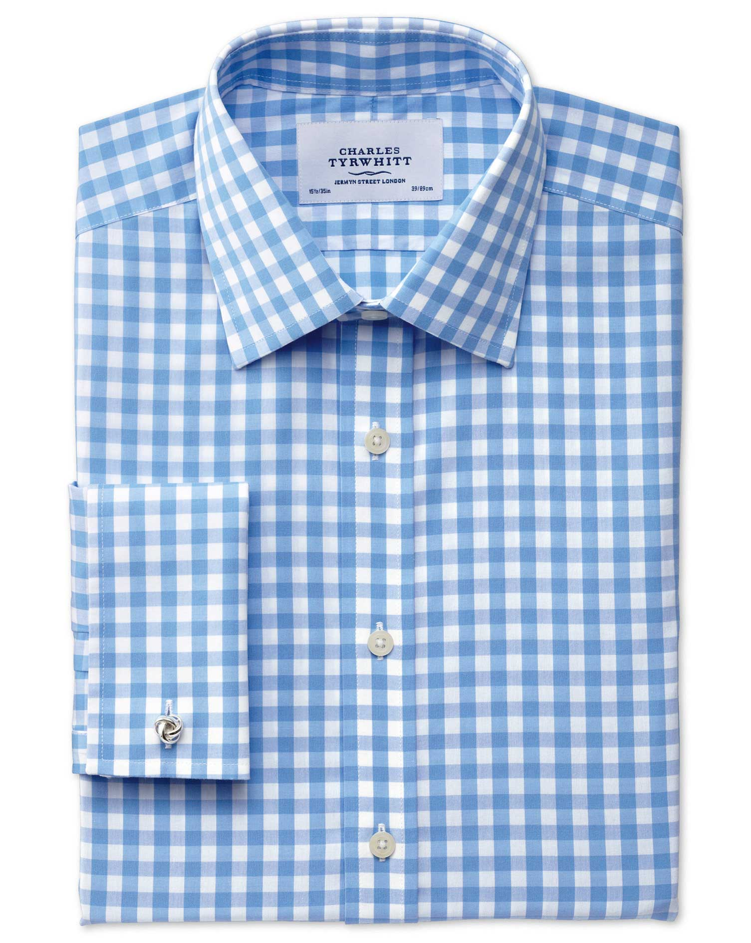 Slim Fit Non-Iron Gingham Sky Blue Cotton Formal Shirt Double Cuff Size 14.5/33 by Charles Tyrwhitt