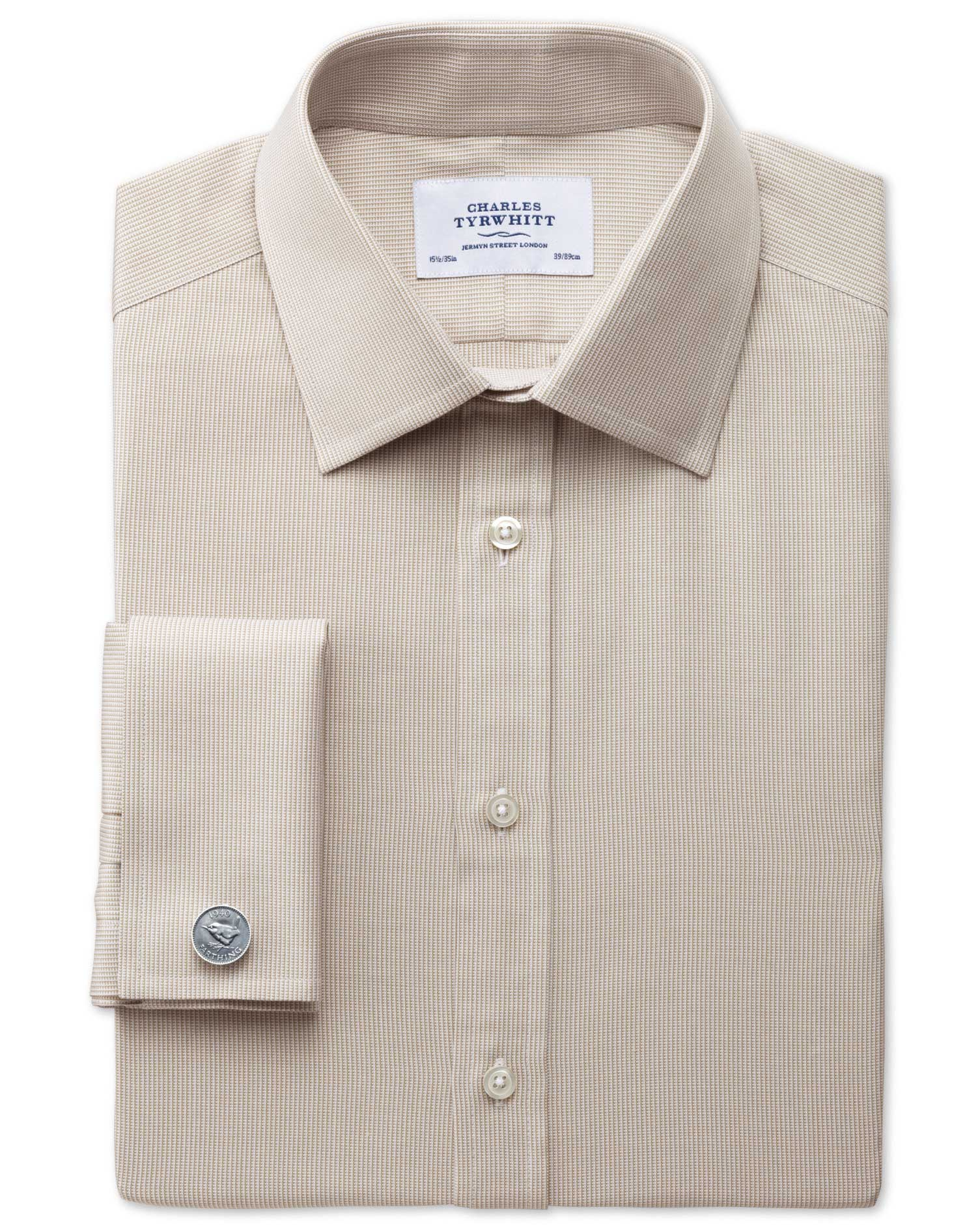 Classic Fit Oxford Stone Cotton Formal Shirt Double Cuff Size 15.5/37 by Charles Tyrwhitt