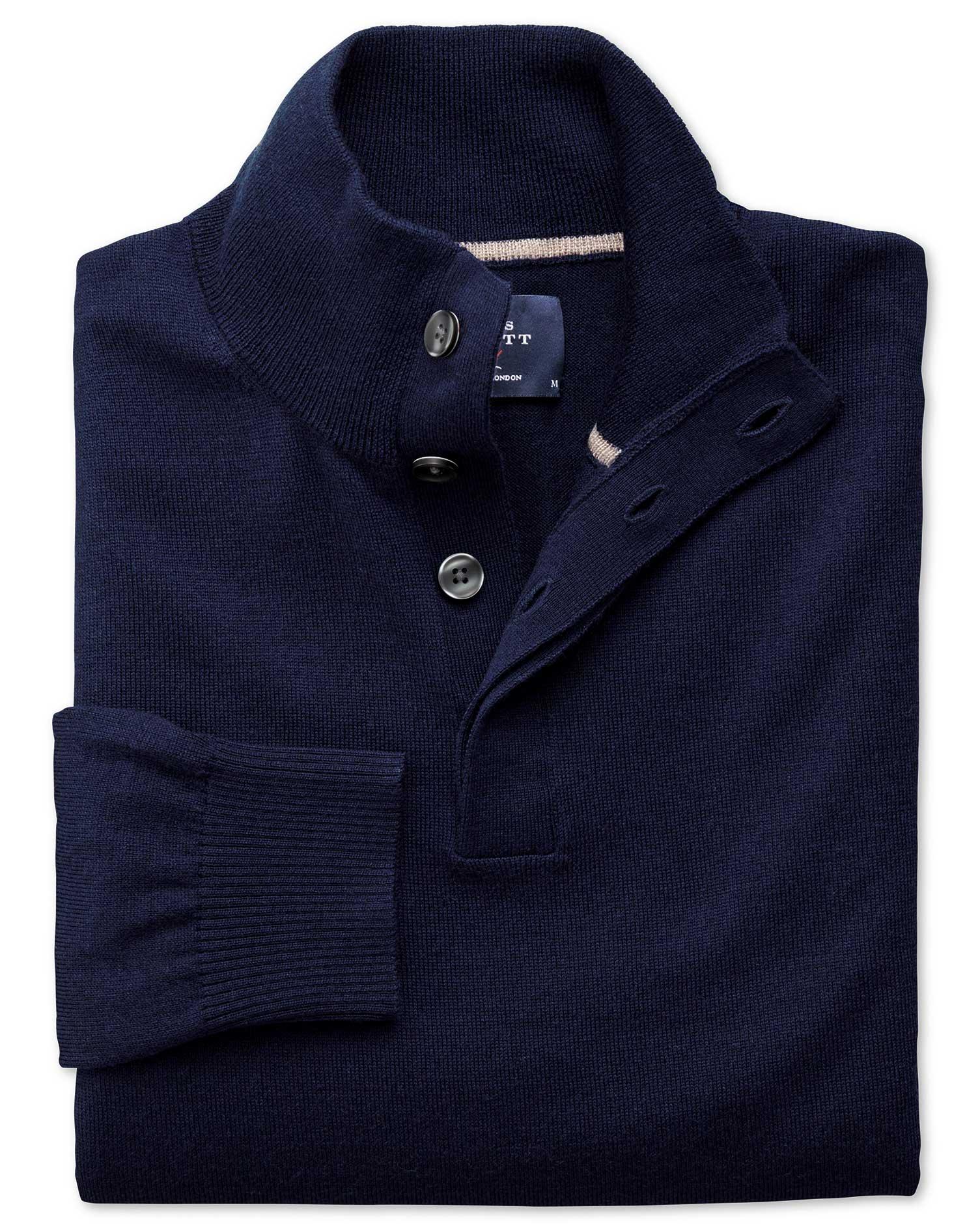 Navy Merino Wool Button Neck Jumper Size Small by Charles Tyrwhitt