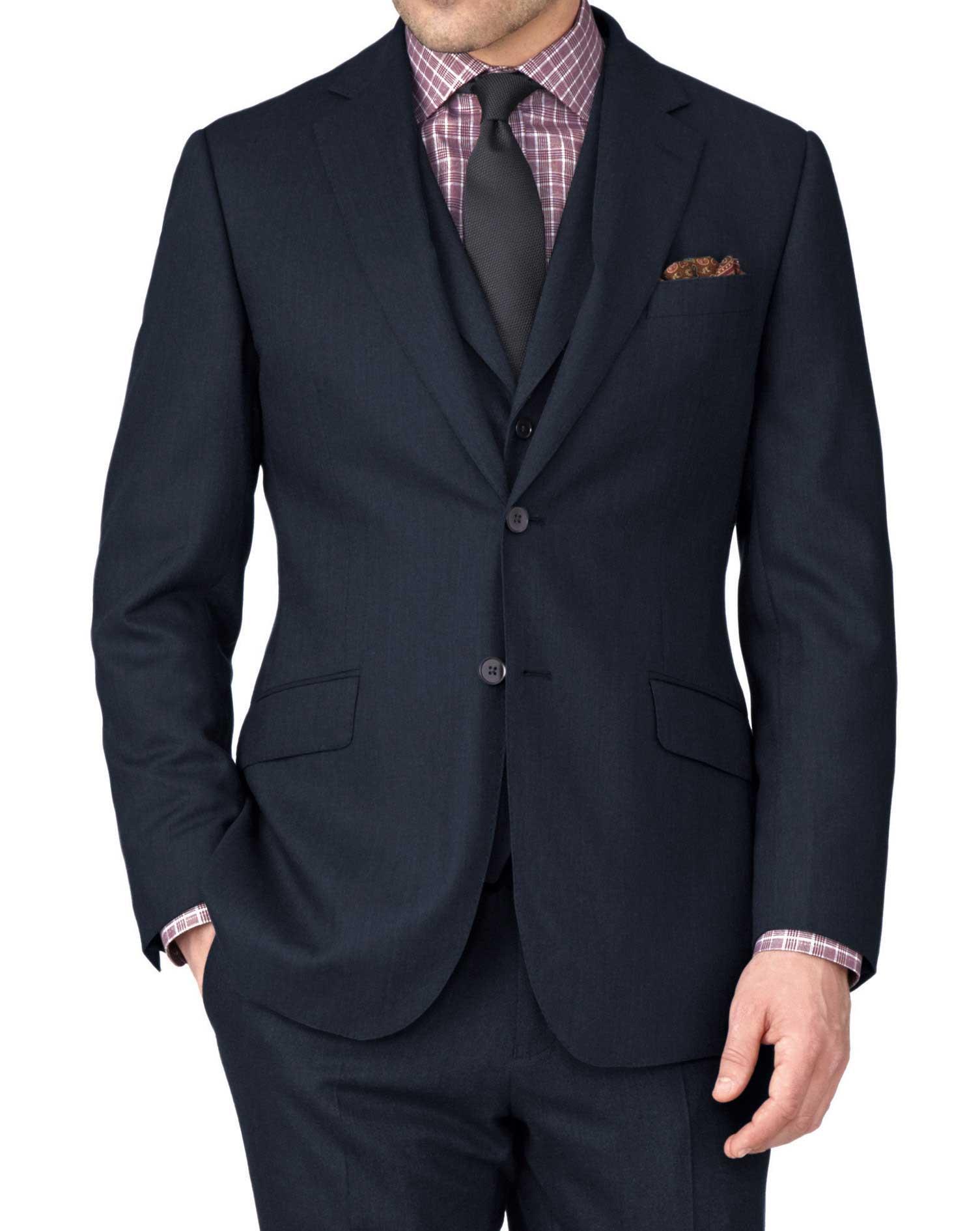 Indigo Slim Fit Saxony Business Suit Wool Jacket Size 36 Short by Charles Tyrwhitt