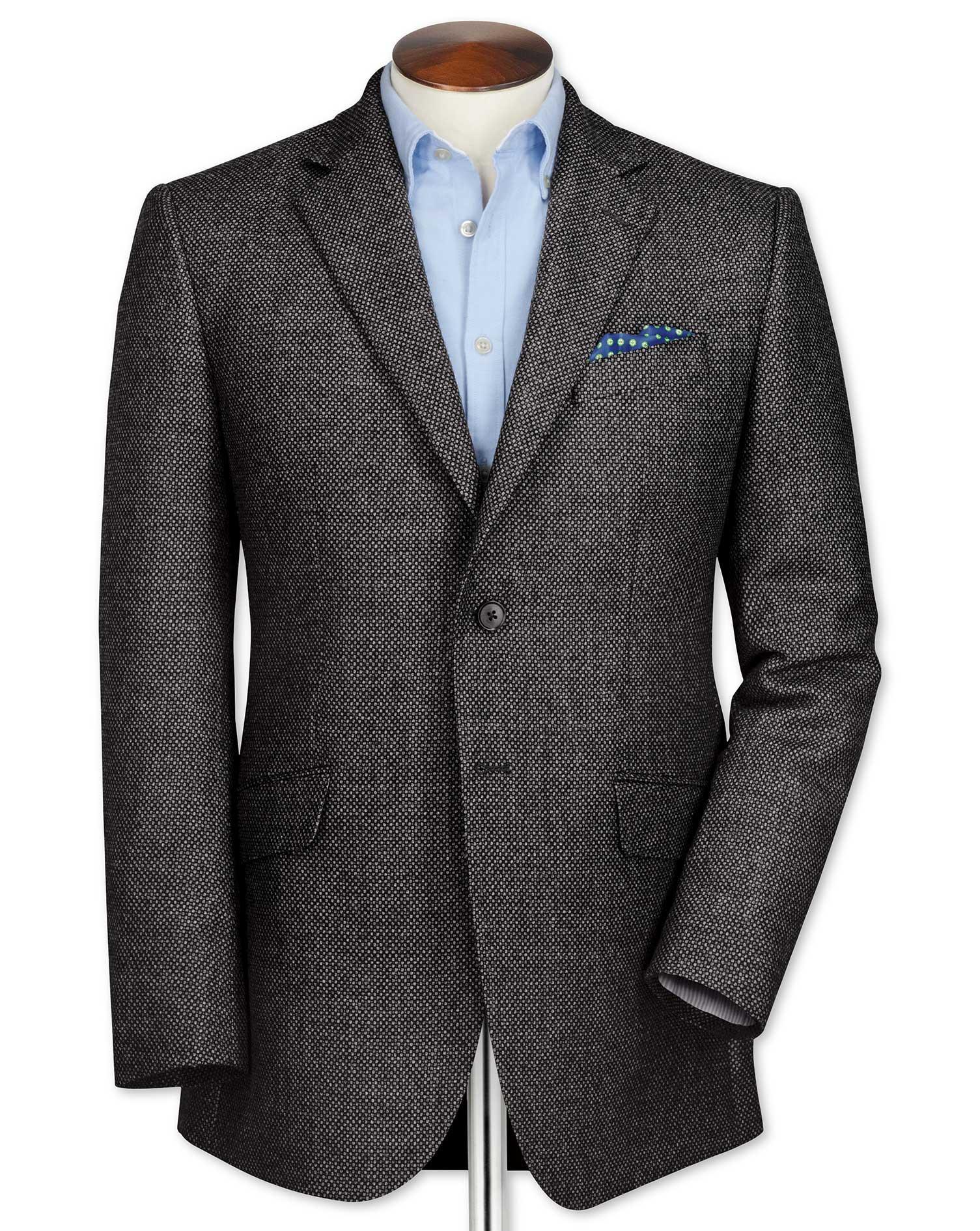 Classic Fit Grey Birdseye Lambswool Wool Jacket Size 42 Regular by Charles Tyrwhitt