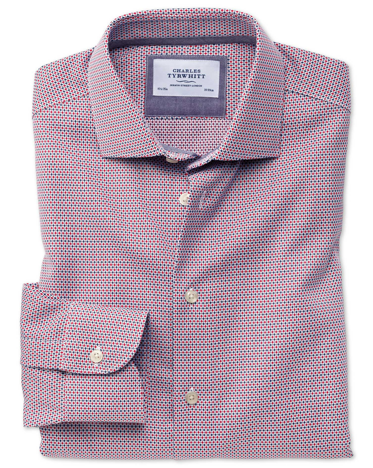 Classic Fit Semi-Cutaway Business Casual Non-Iron Modern Textures Red and Blue Cotton Formal Shirt S