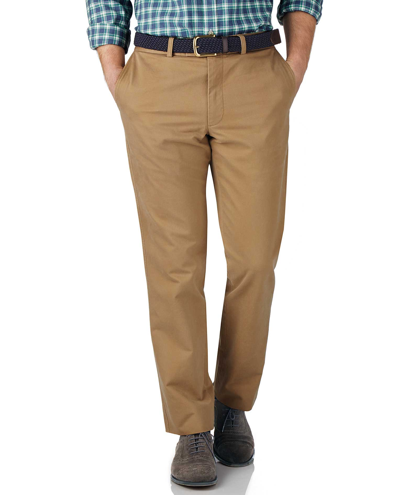 Tan Slim Fit Flat Front Weekend Cotton Chino Trousers Size W34 L32 by Charles Tyrwhitt