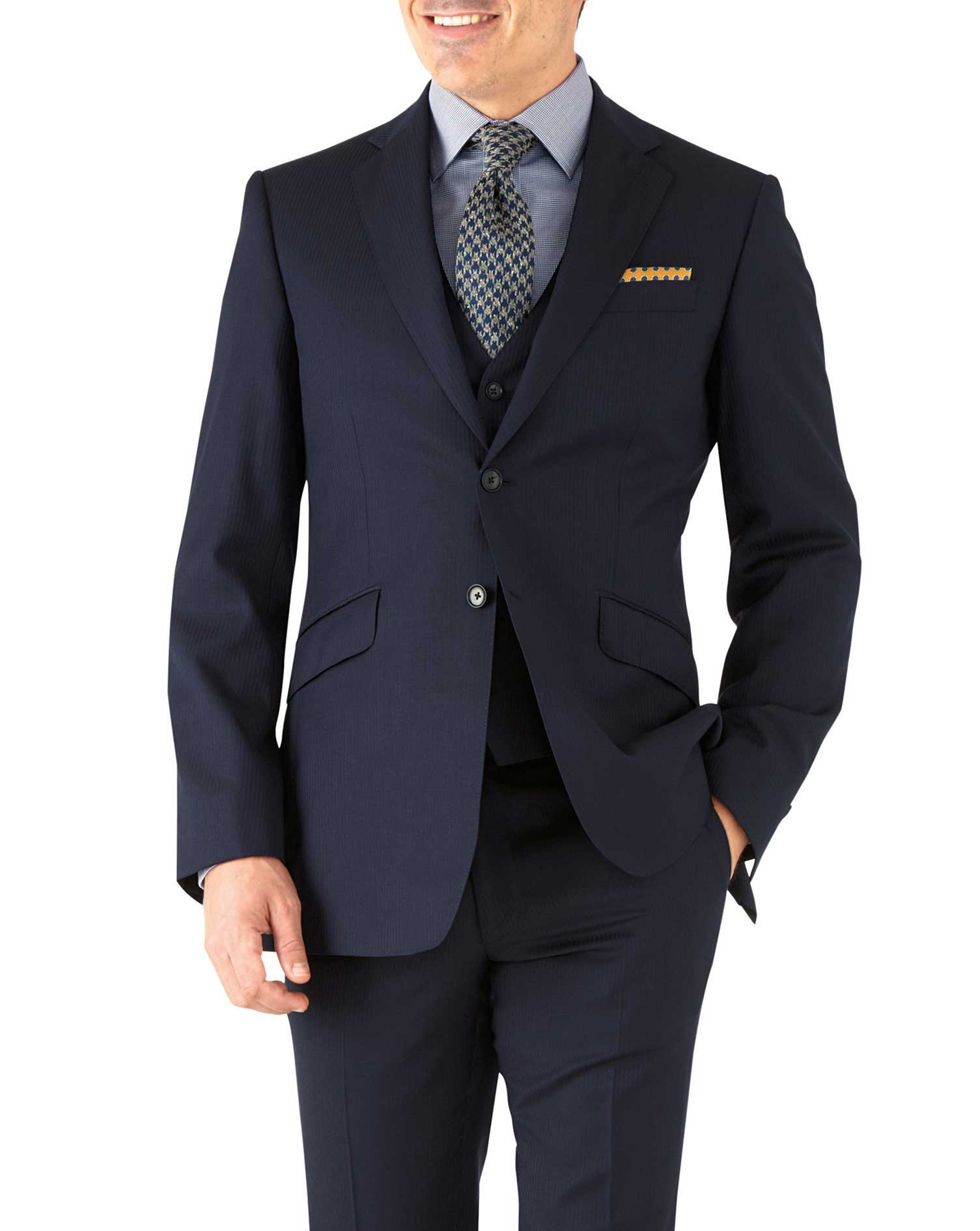 Navy Herringbone Slim Fit Italian Suit Wool Jacket Size 42 Short by Charles Tyrwhitt
