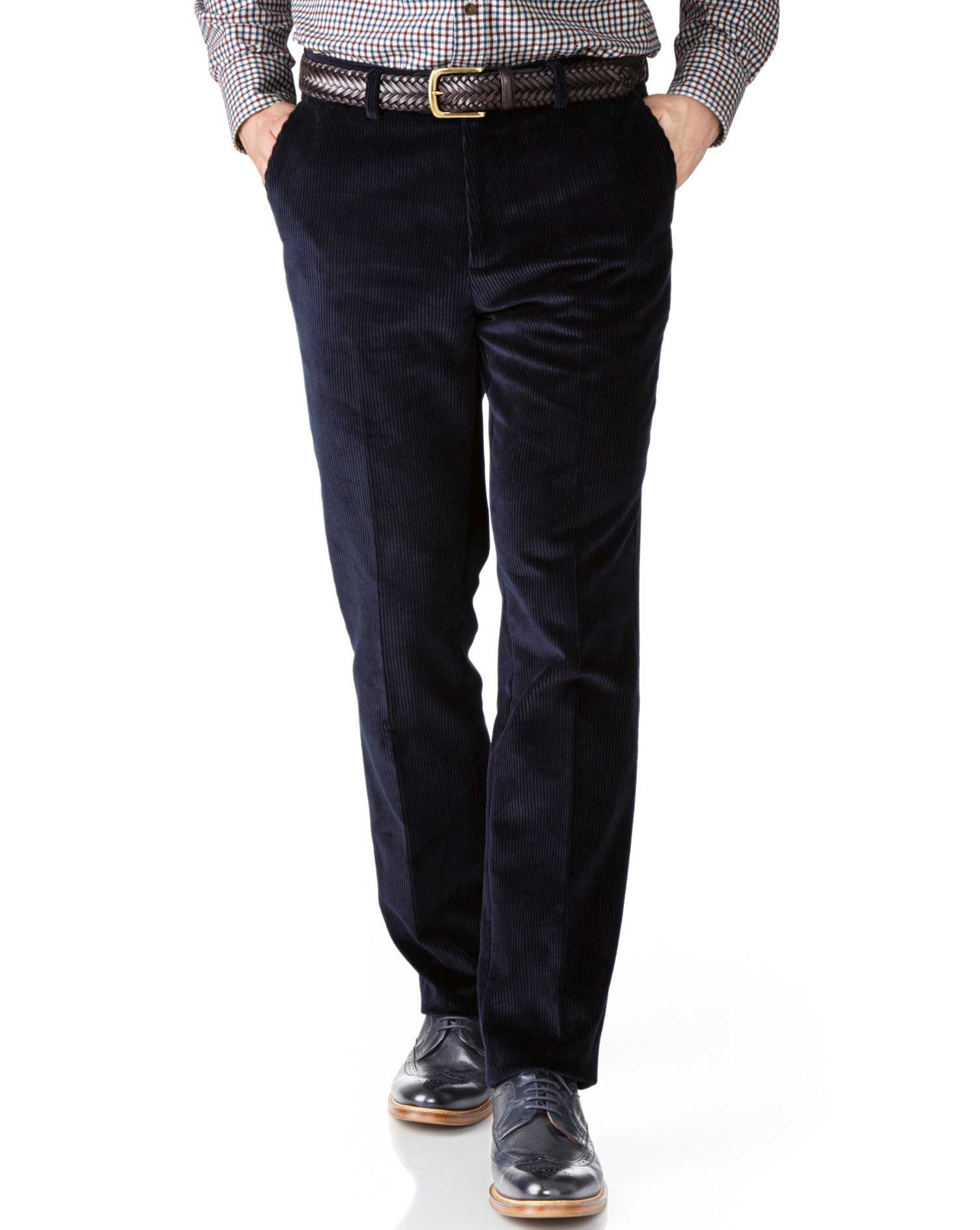 Navy Slim Fit Jumbo Cord Trousers Size W38 L32 by Charles Tyrwhitt