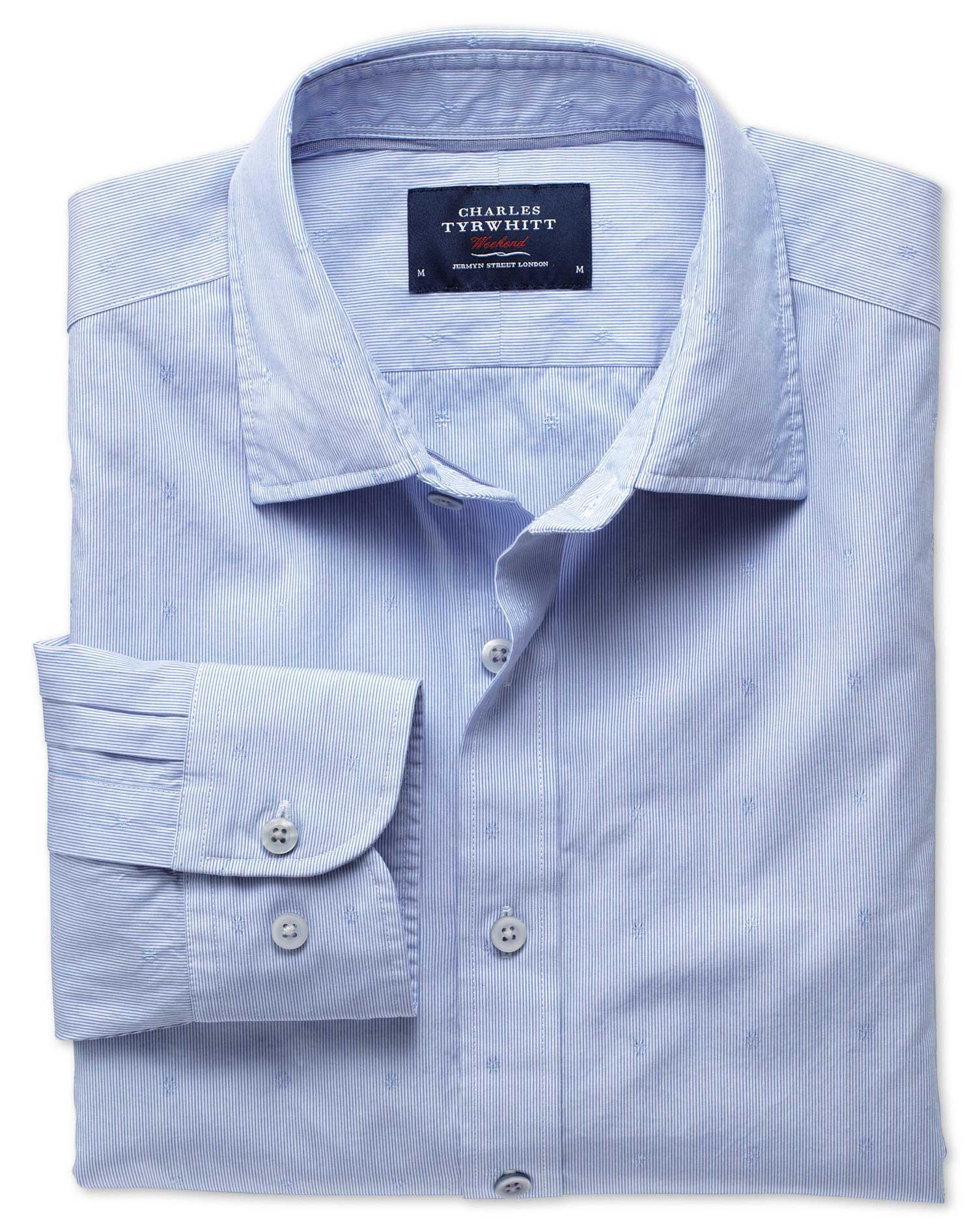 Extra Slim Fit Sky Blue Poplin Dobby Cotton Shirt Single Cuff Size XS by Charles Tyrwhitt