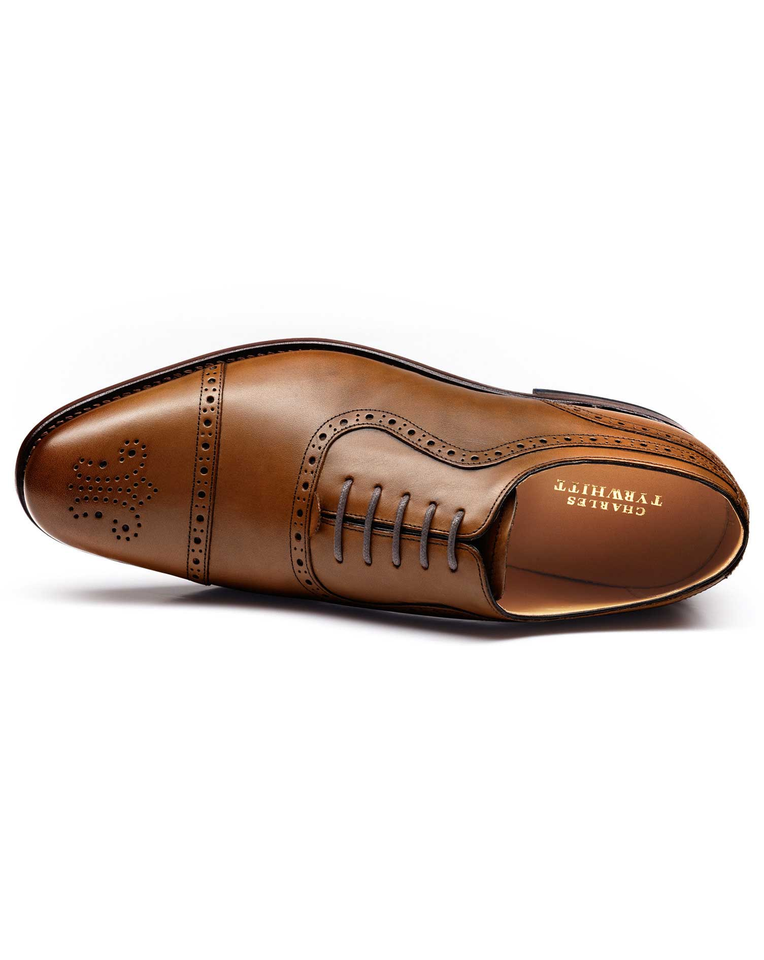 Brown Parker Toe Cap Brogue Oxford Shoes Size 10 R by Charles Tyrwhitt