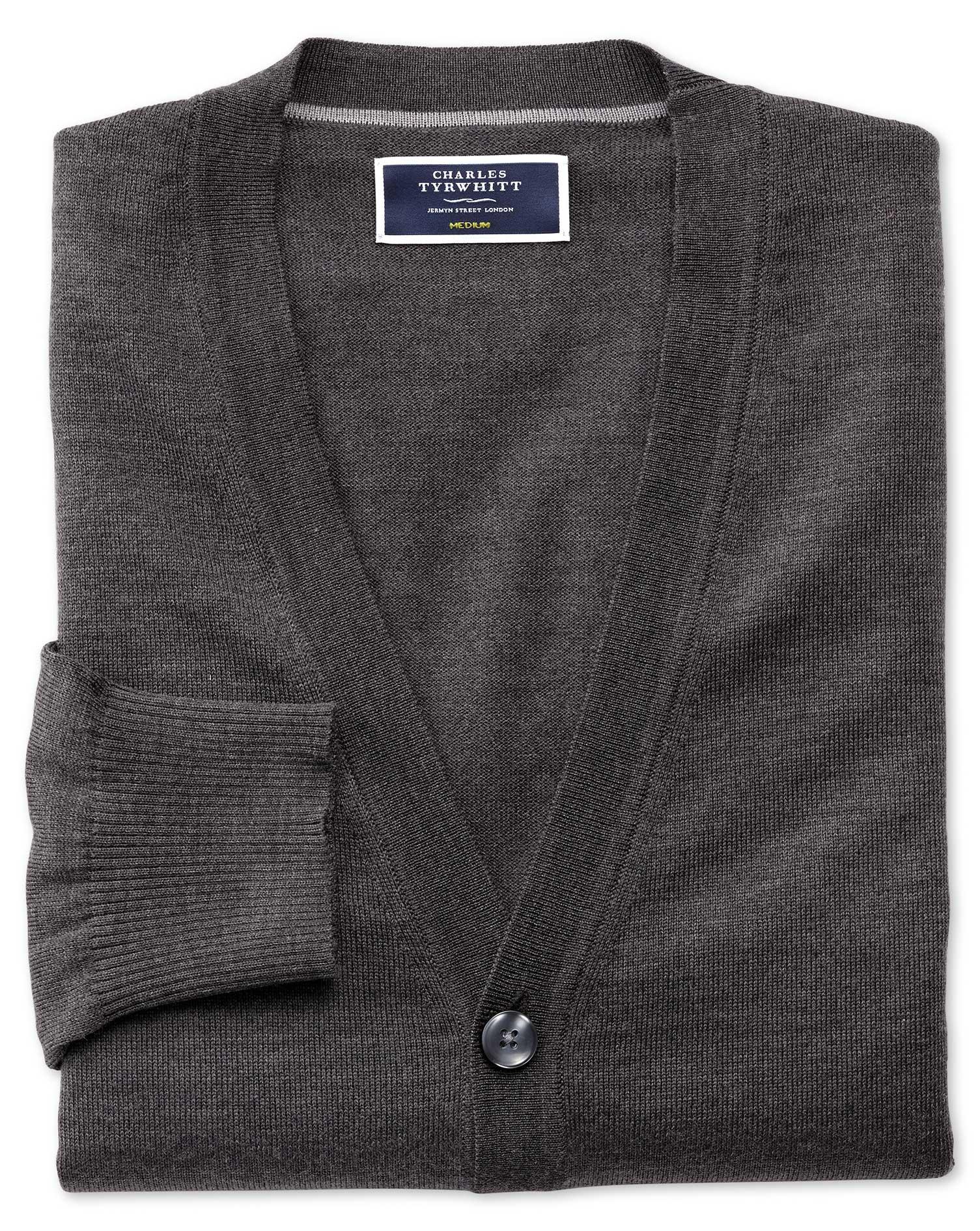 Charcoal Merino Wool Cardigan Size Medium by Charles Tyrwhitt