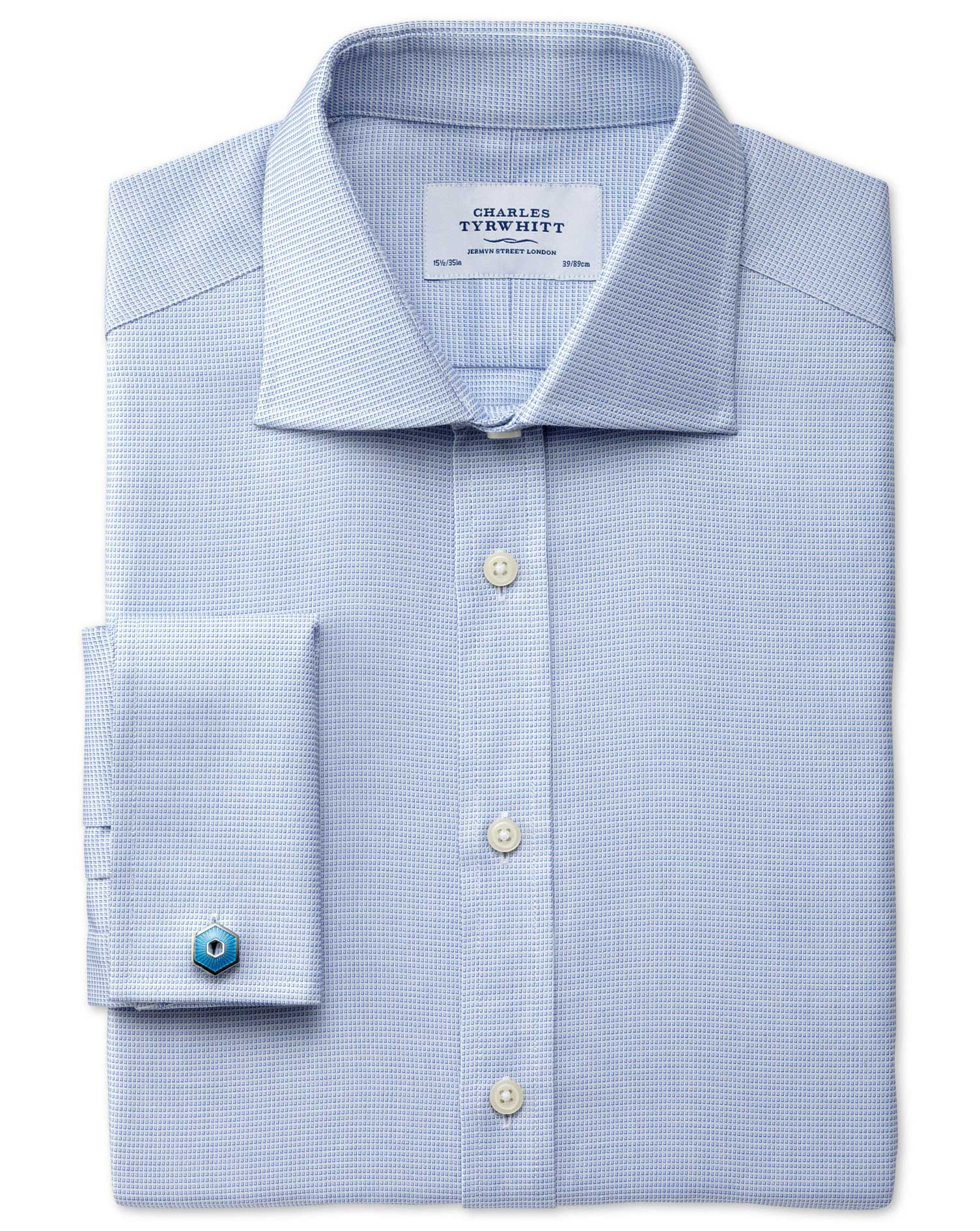 Slim Fit Semi-Cutaway Collar Regency Weave Sky Blue Egyptian Cotton Formal Shirt Double Cuff Size 14