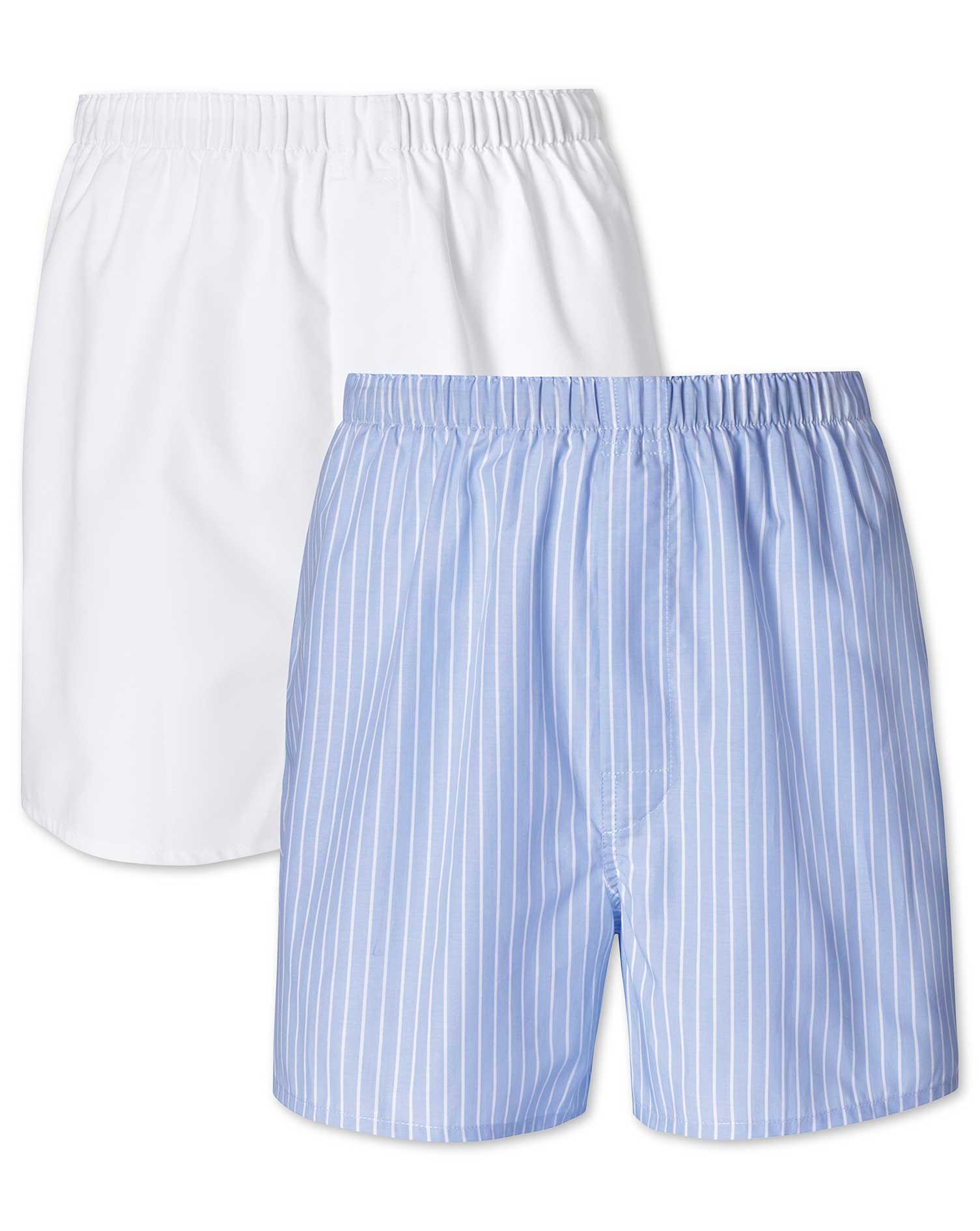 2er Pack Boxers in Himmelblau und Weiß mit Stre...