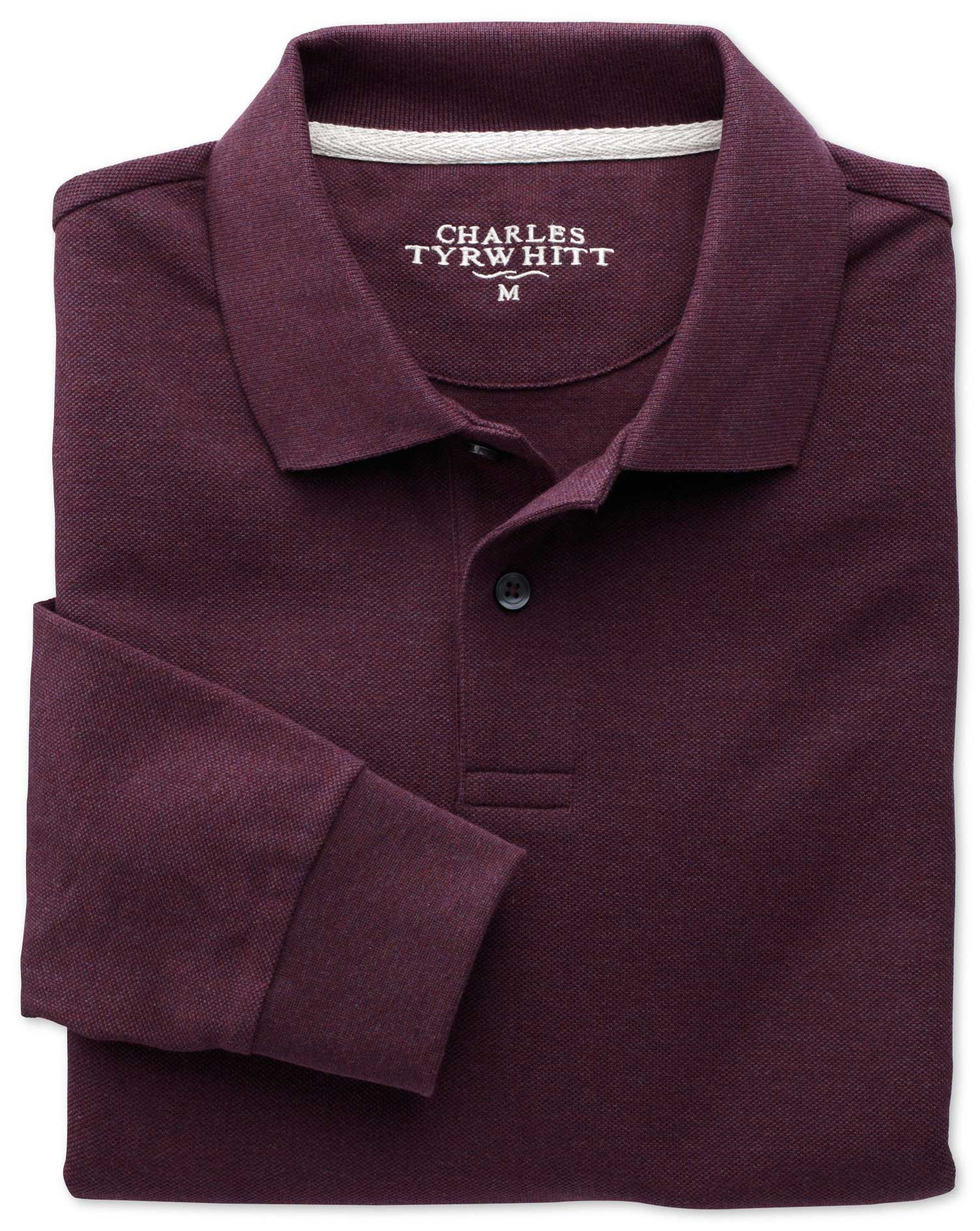 Dark Red Pique Long Sleeve Cotton Polo Size XS by Charles Tyrwhitt