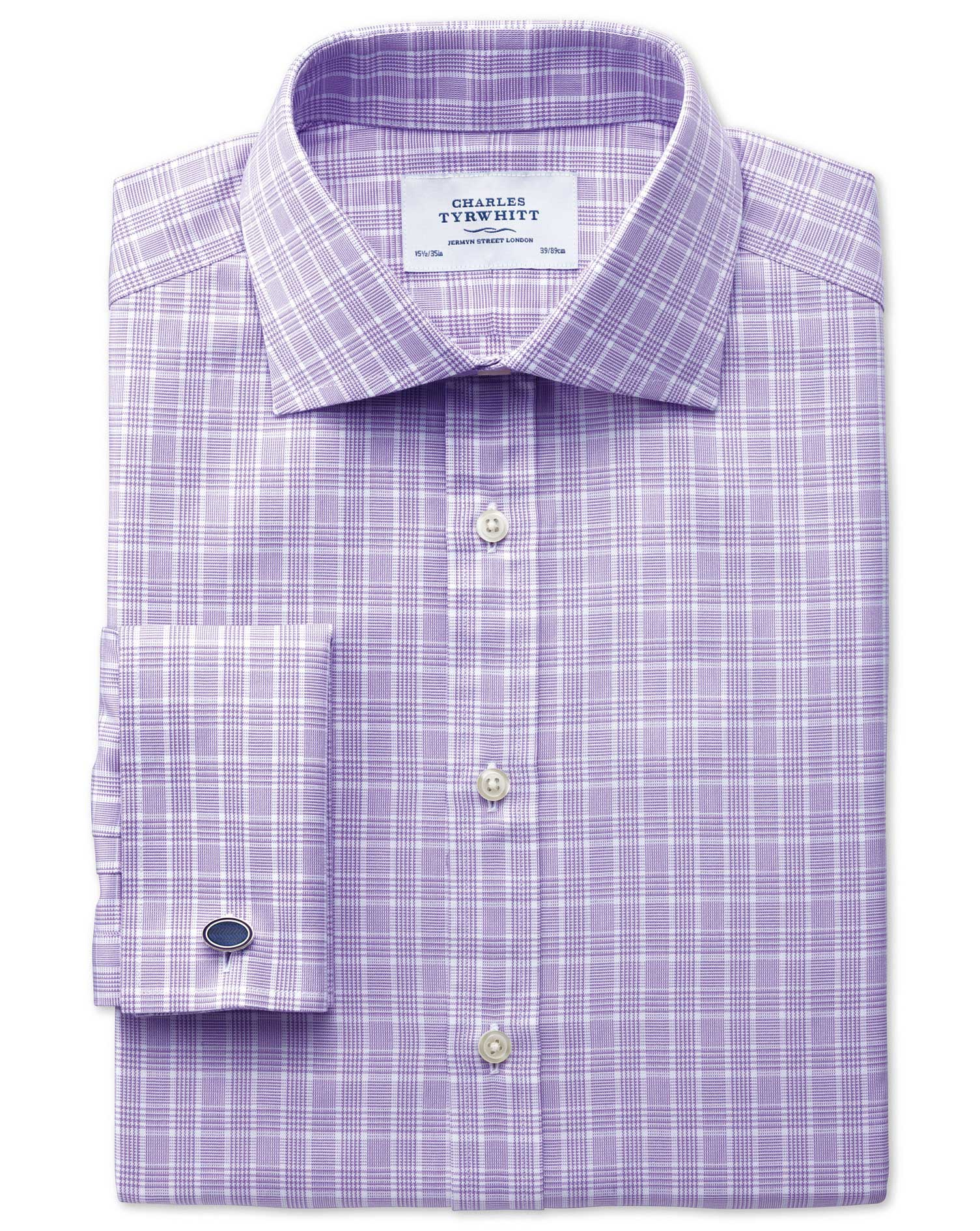 Slim Fit Prince Of Wales Basketweave Lilac Cotton Formal Shirt Single Cuff Size 16/38 by Charles Tyr