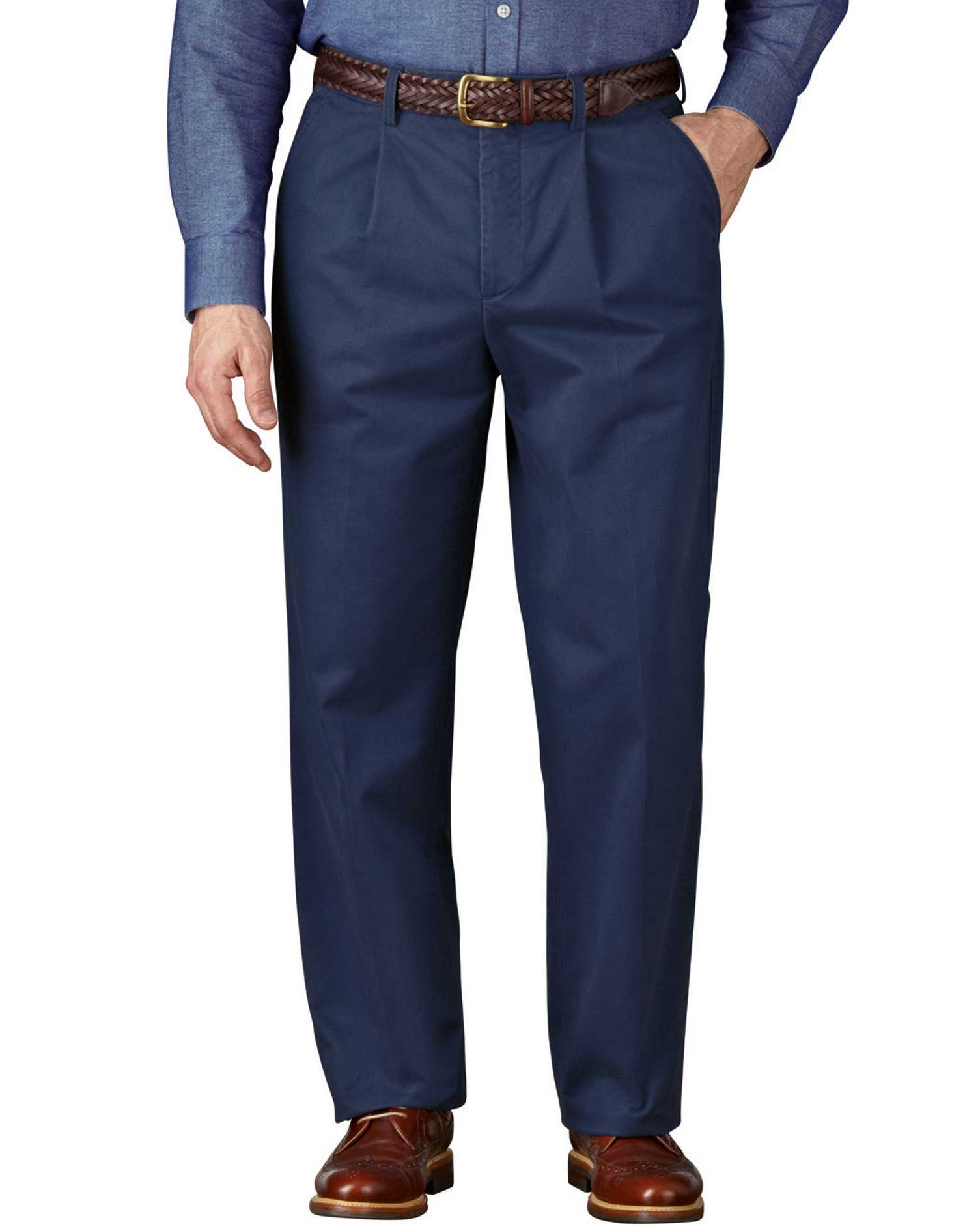 Blue Classic Fit Single Pleat Weekend Cotton Chino Trousers Size W34 L29 by Charles Tyrwhitt