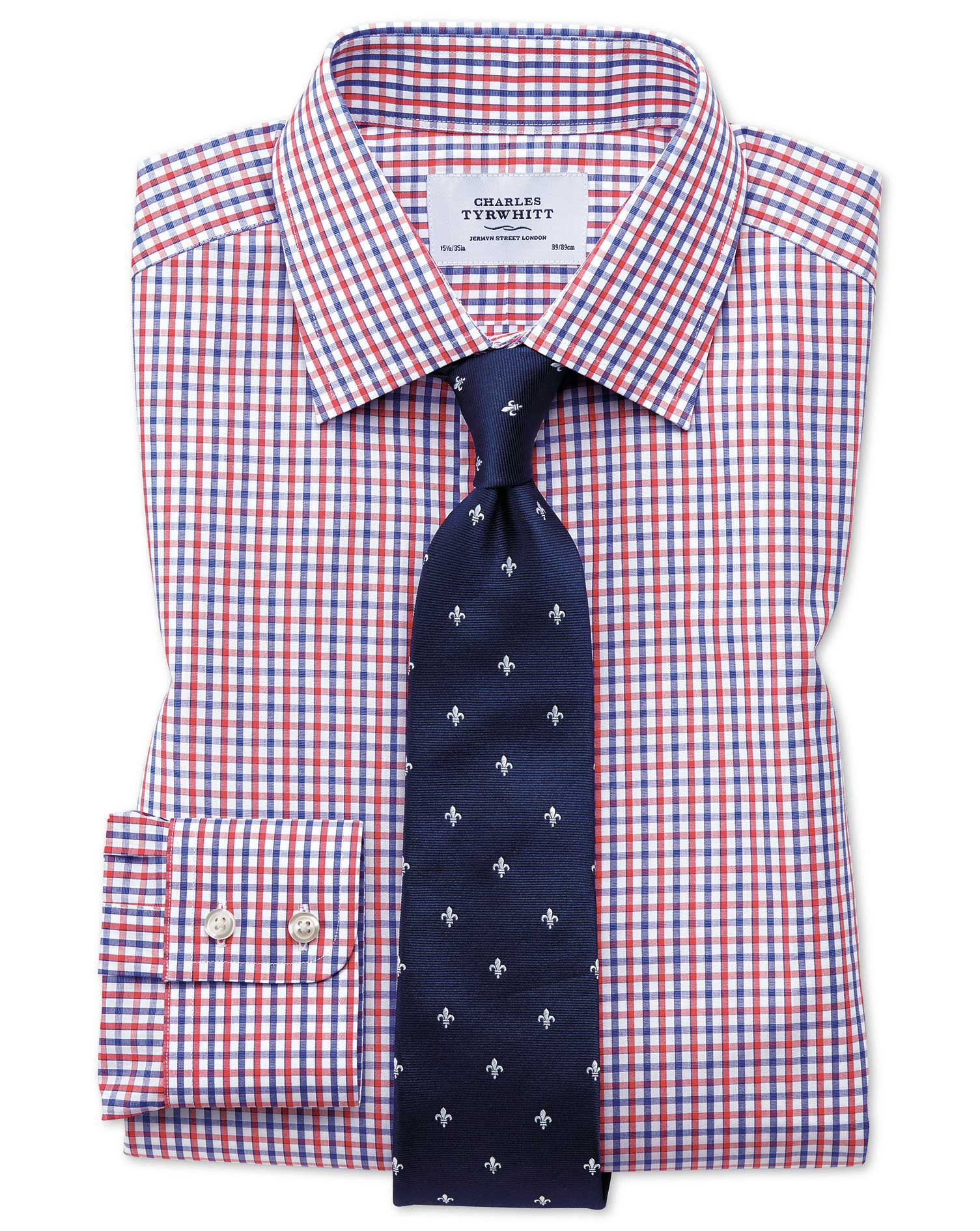 Classic Fit Two Color Check Red And Blue Shirt Charles