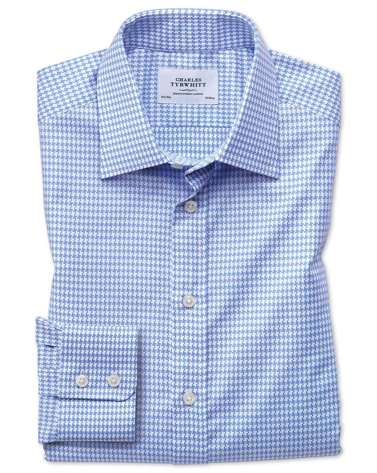 Slim Fit Large Puppytooth Sky Blue Cotton Formal Shirt Single Cuff Size 15/34 by Charles Tyrwhitt