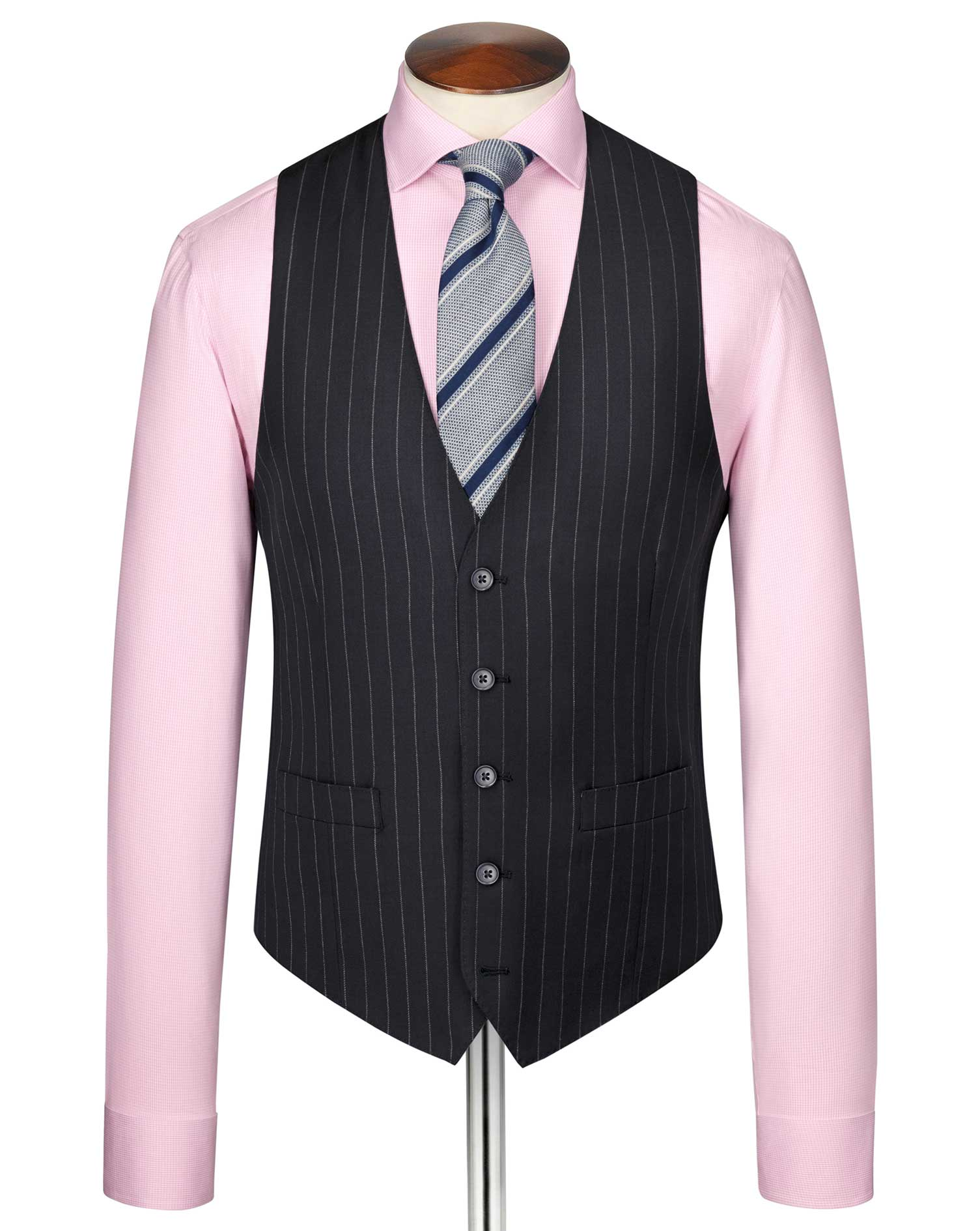Navy Stripe Adjustable Fit Twill Business Suit Wool Waistcoat Size w48 by Charles Tyrwhitt