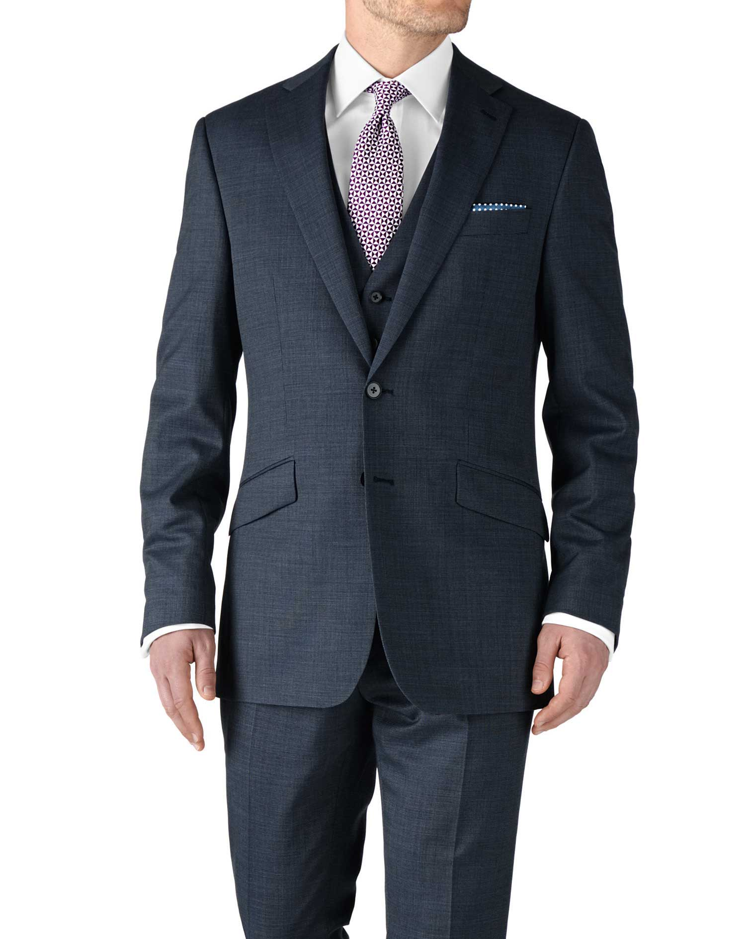 Airforce Blue Slim Fit End-On-End Business Suit Wool Jacket Size 40 Regular by Charles Tyrwhitt
