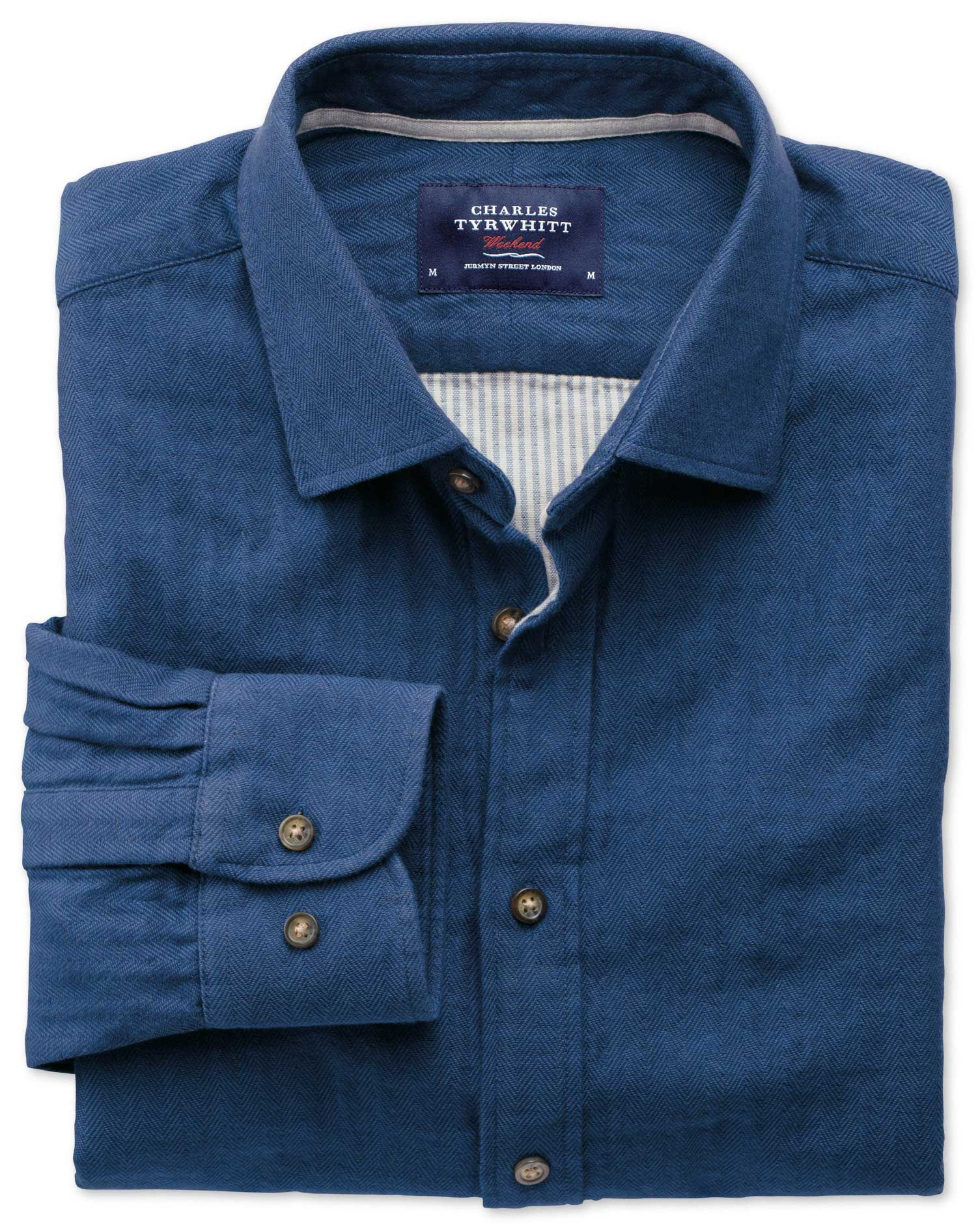 Extra Slim Fit Blue Double Face Cotton Shirt Single Cuff Size Medium by Charles Tyrwhitt