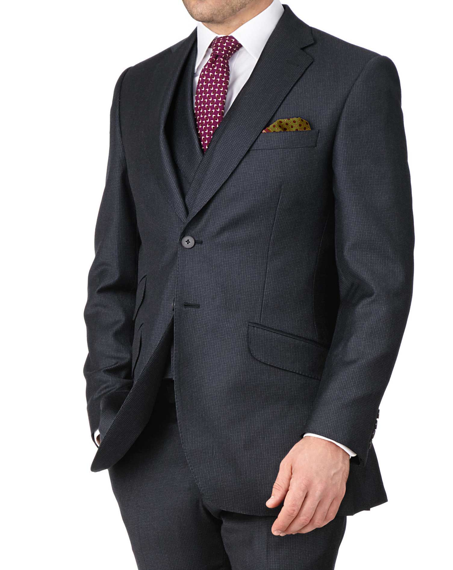 Blue Slim Fit British Serge Puppytooth Luxury Suit Wool Jacket Size 38 Long by Charles Tyrwhitt
