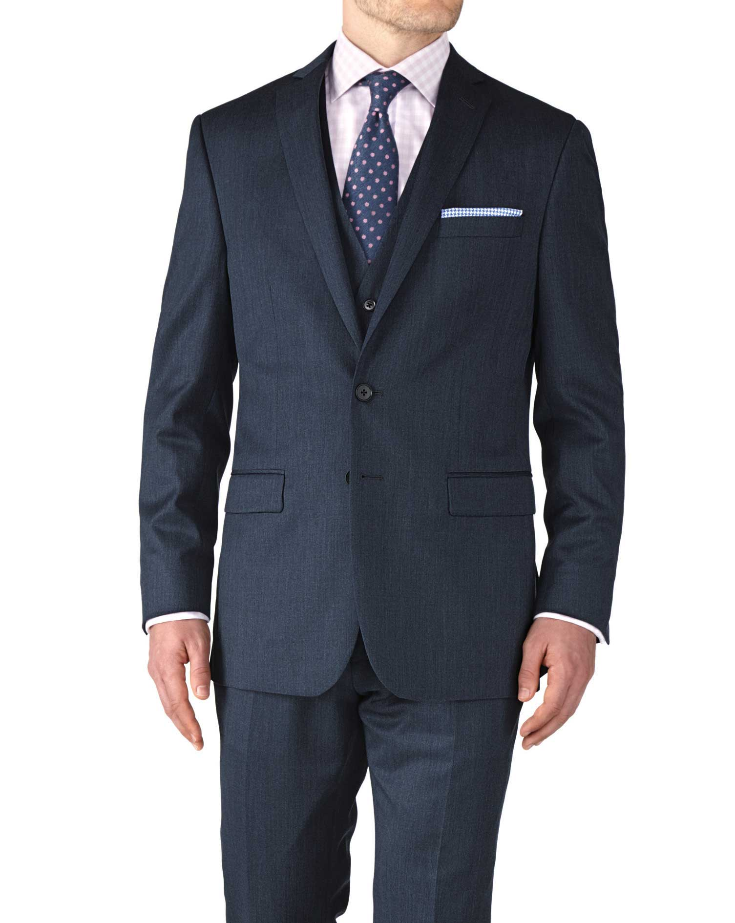 Airforce Blue Slim Fit Twill Business Suit Wool Jacket Size 48 Long by Charles Tyrwhitt