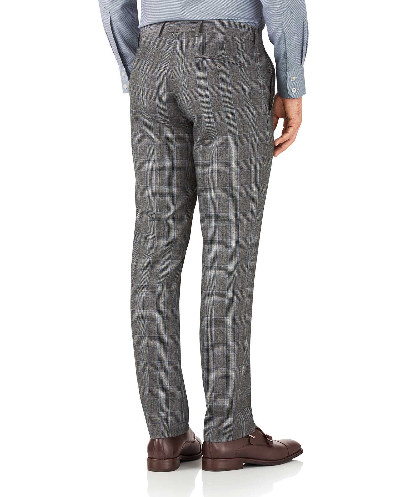 Slim Fit Business Anzug Hose aus Flanell in Silber mit Prince-of-Wales-Karos