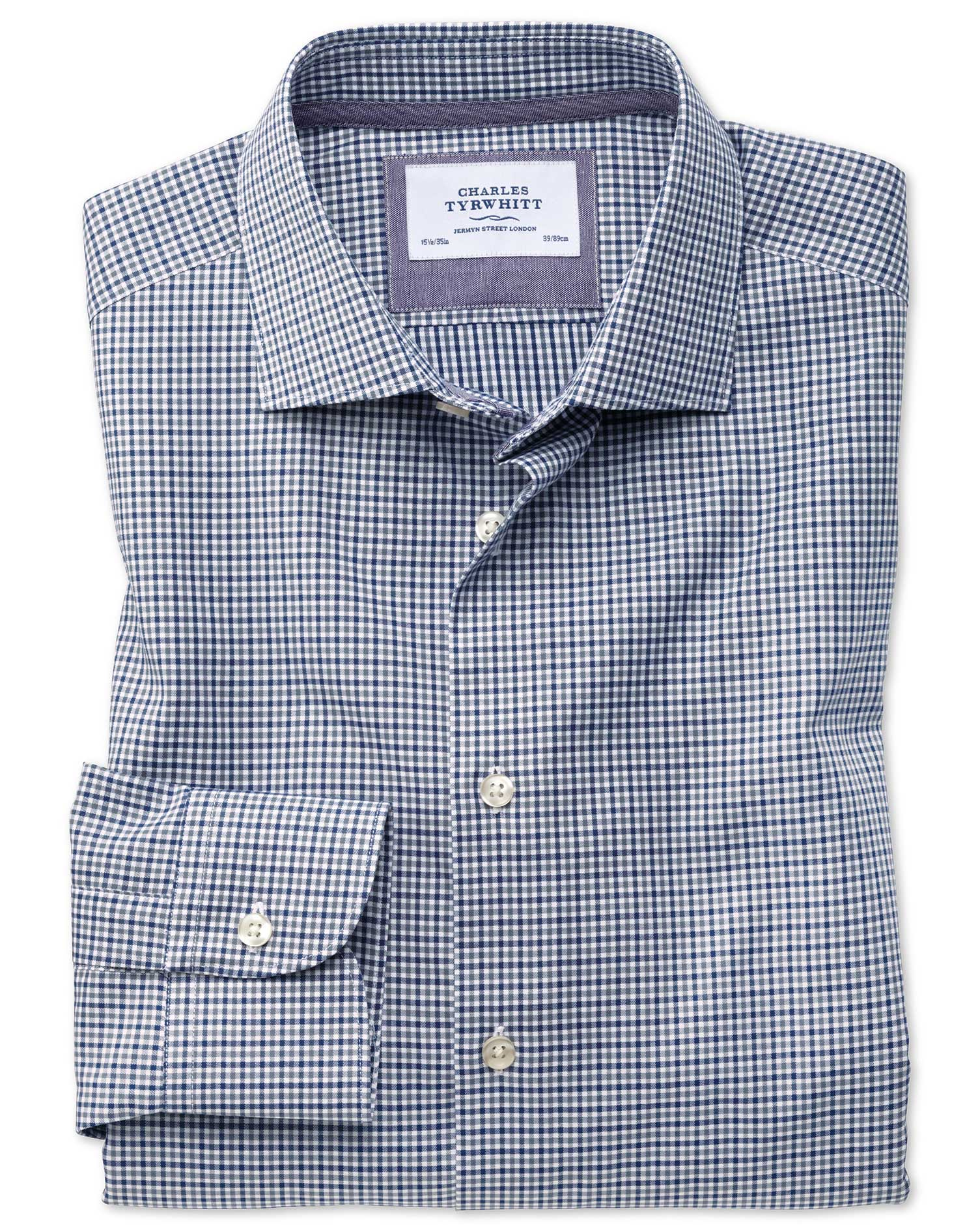 Classic Fit Semi-Cutaway Business Casual Gingham Navy and Grey Cotton Formal Shirt Single Cuff Size