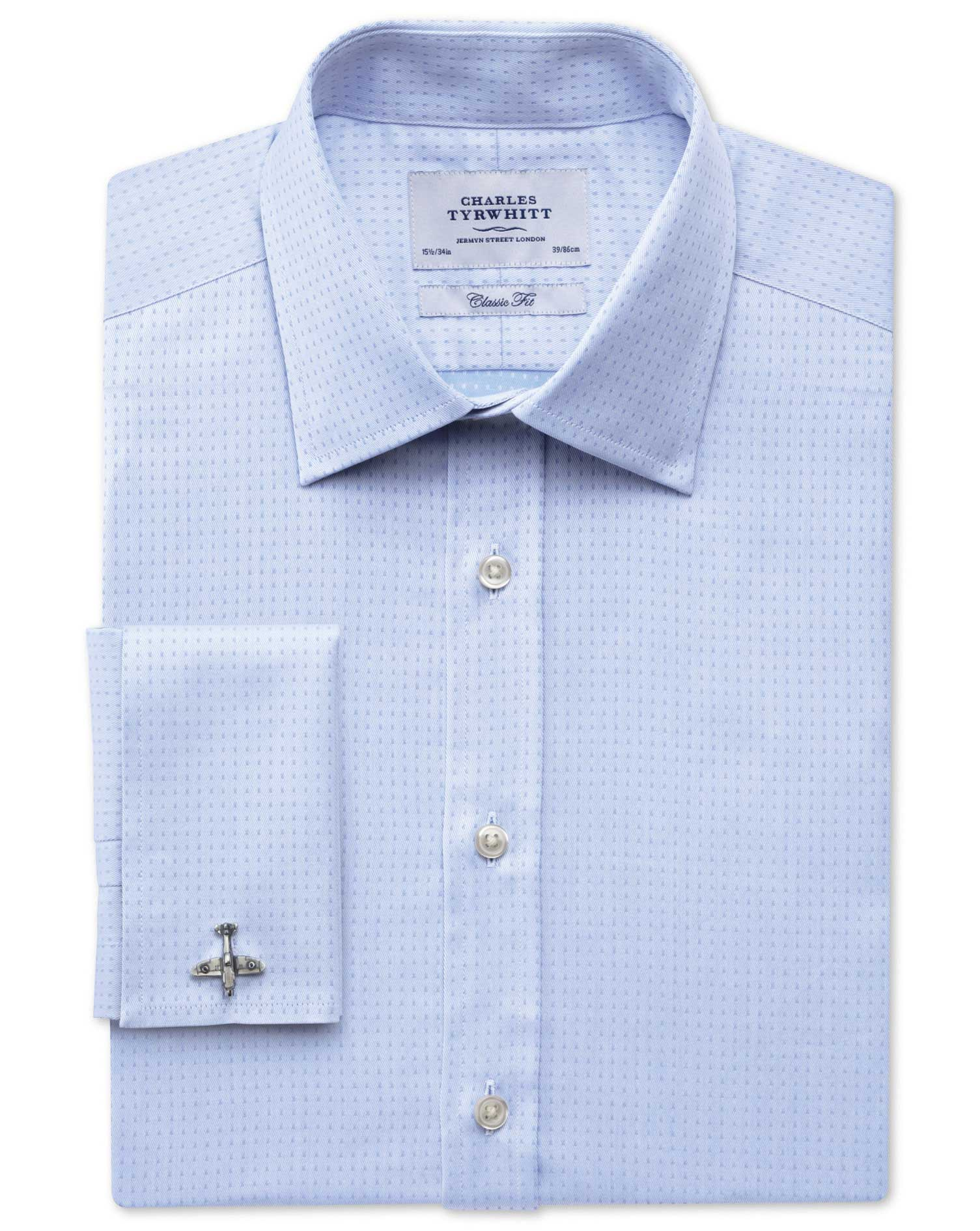 Classic Fit Egyptian Cotton Textured Dobby Sky Blue Formal Shirt Single Cuff Size 15.5/37 by Charles