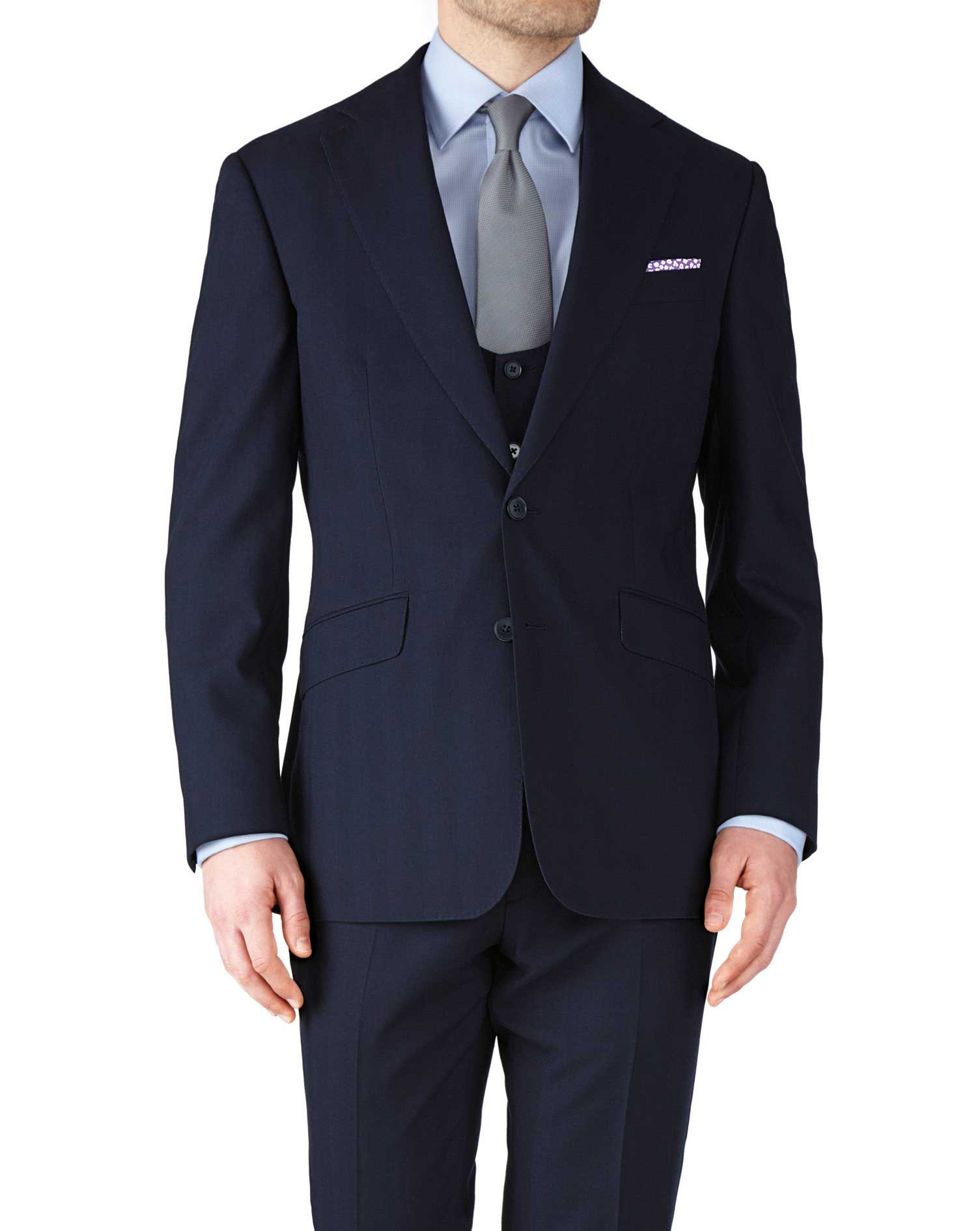 Navy Slim Fit Herringbone Business Suit Wool Jacket Size 42 Short by Charles Tyrwhitt