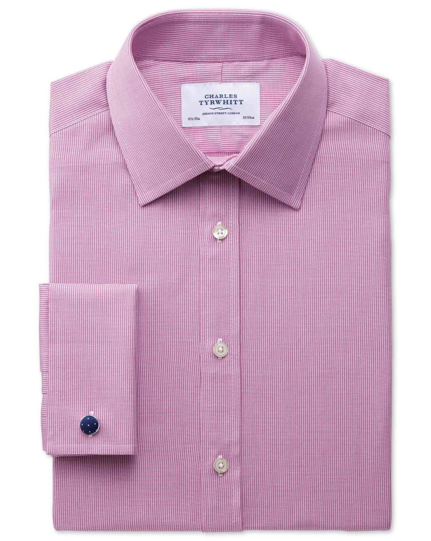 Extra Slim Fit Oxford Magenta Cotton Formal Shirt Double Cuff Size 15/32 by Charles Tyrwhitt