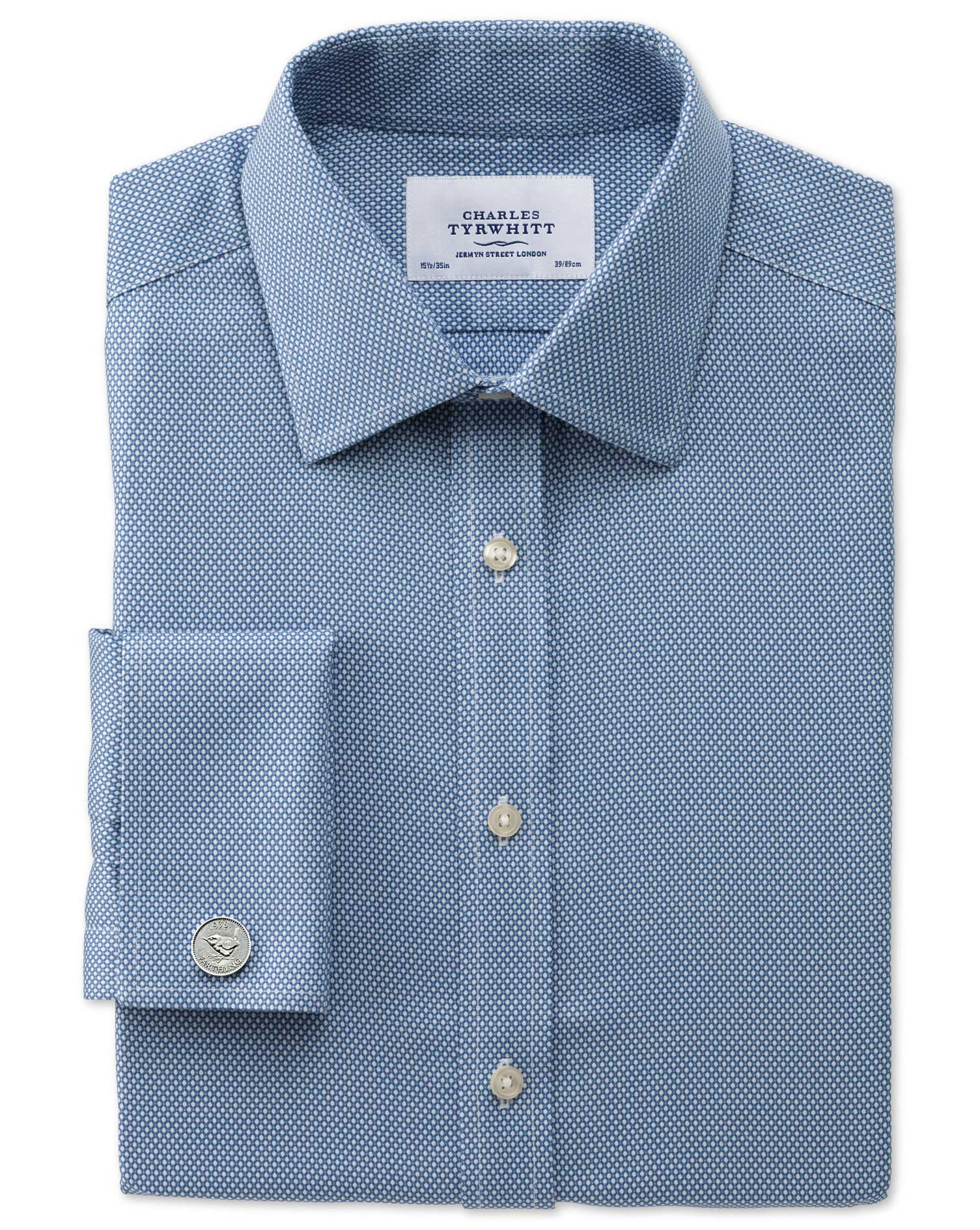 Slim Fit Non-Iron Honeycomb Mid Blue Cotton Formal Shirt Double Cuff Size 16/38 by Charles Tyrwhitt