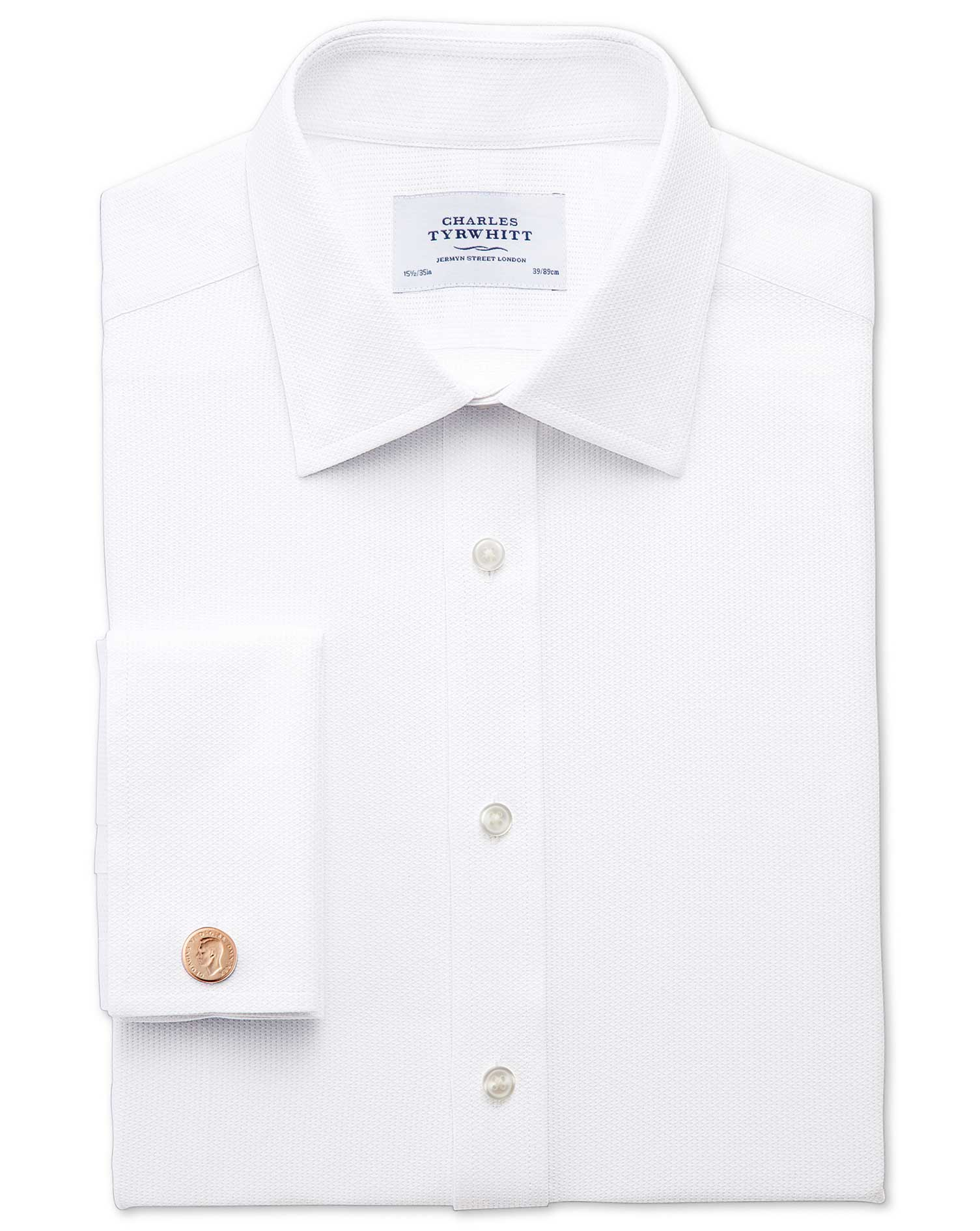 Extra Slim Fit Egyptian Cotton Diamond Texture White Formal Shirt Single Cuff Size 15/32 by Charles