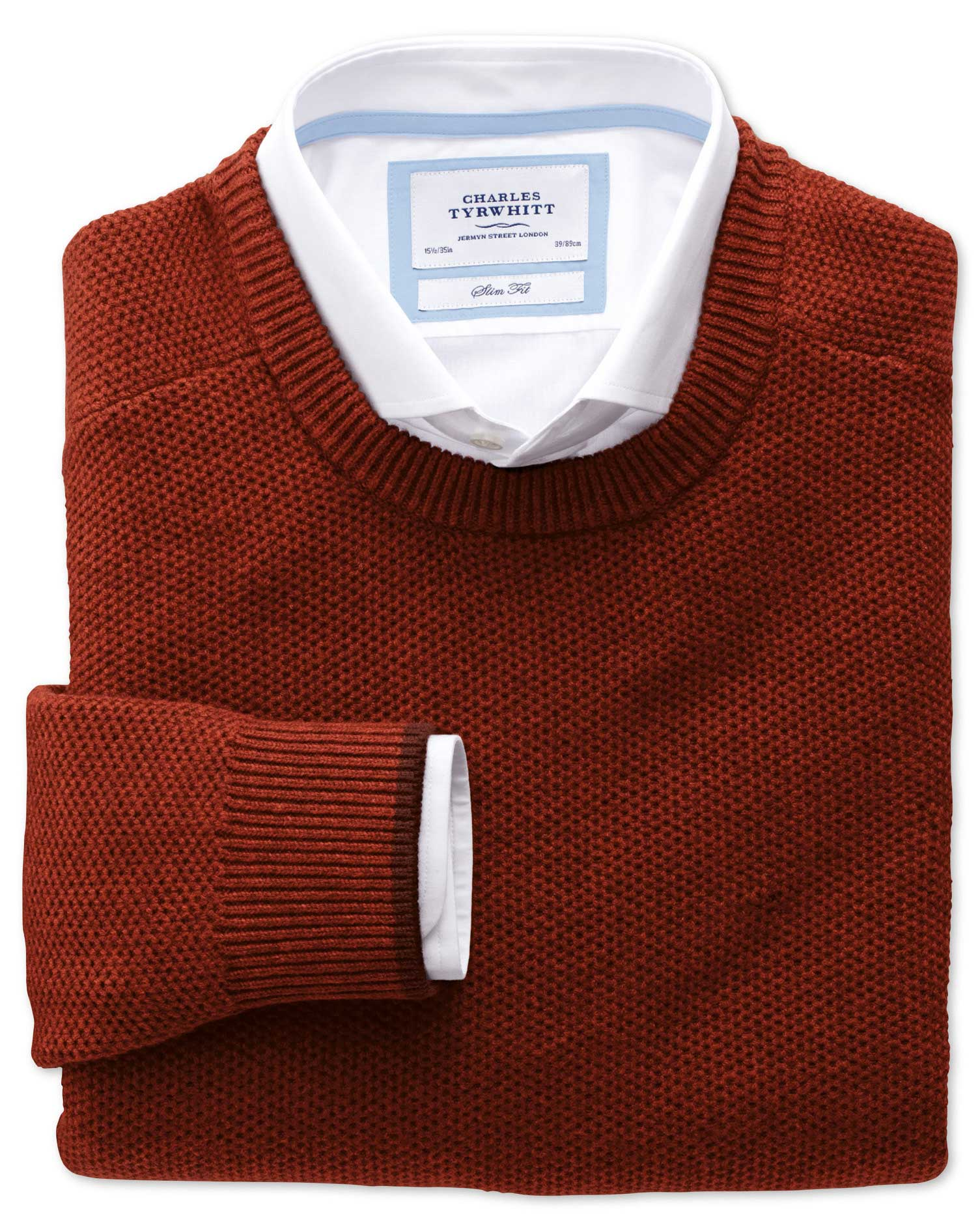 Copper Merino Cotton Crew Neck Wool Jumper Size XXL by Charles Tyrwhitt