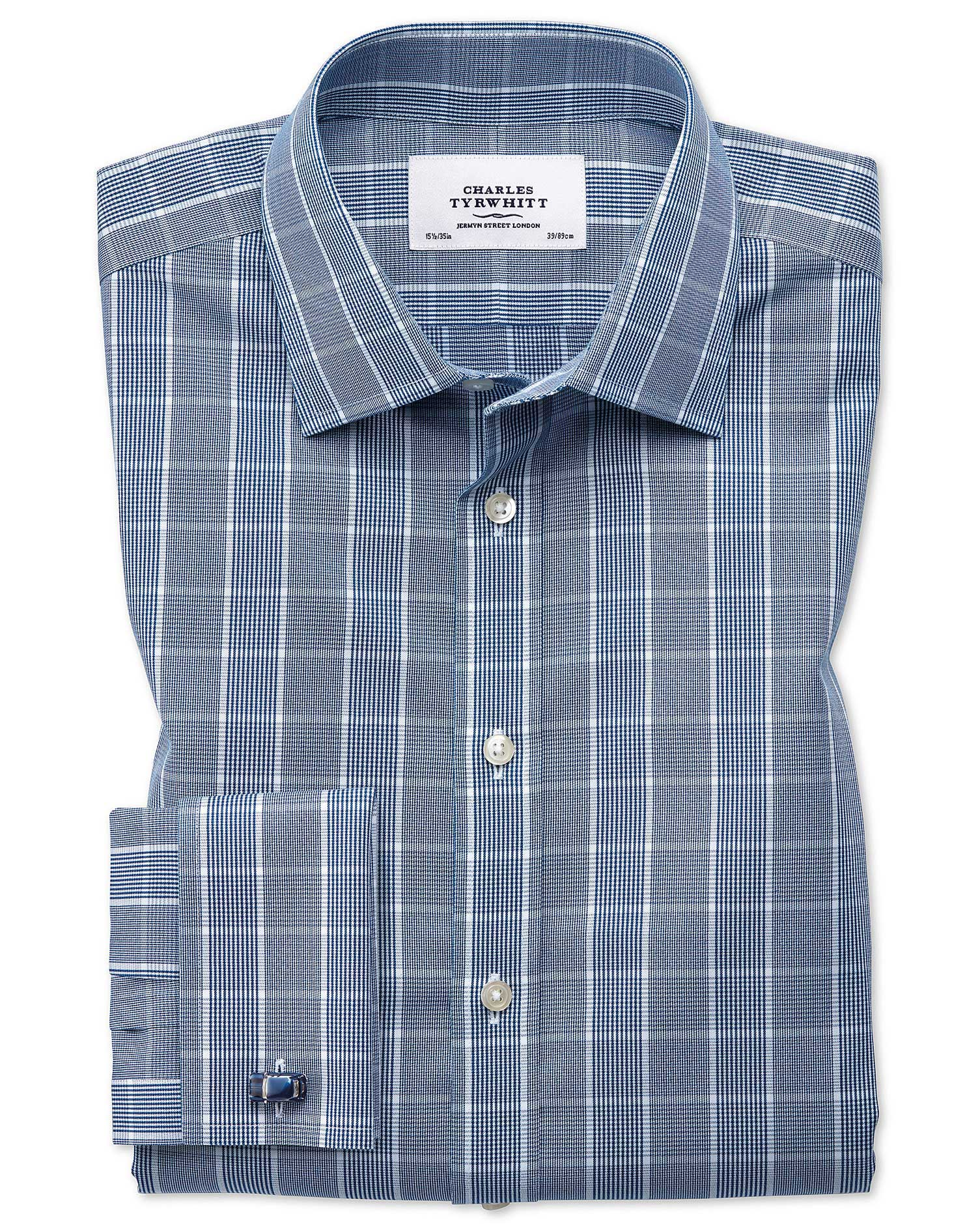 Slim Fit Non-Iron Prince Of Wales Navy Blue and White Cotton Formal Shirt Single Cuff Size 15/33 by