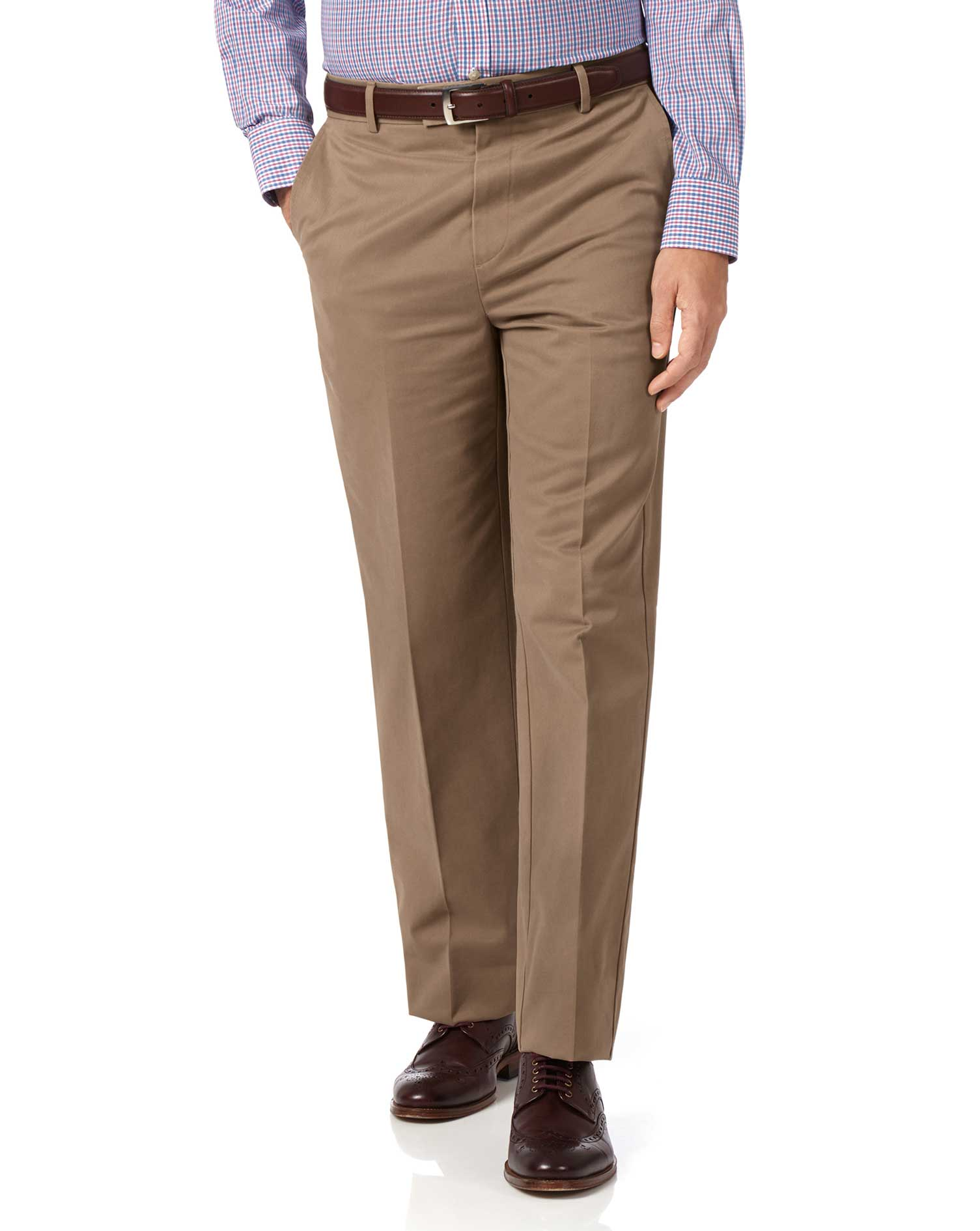 Tan Classic Fit Flat Front Non-Iron Cotton Chino Trousers Size W34 L34 by Charles Tyrwhitt