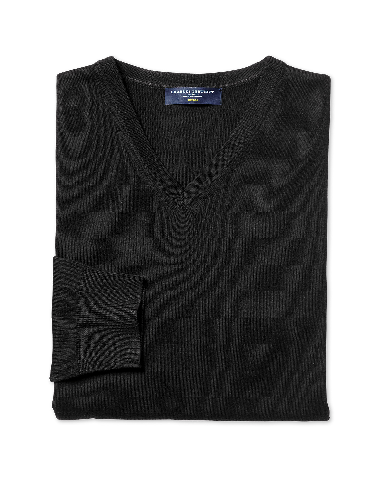 Black Merino Wool V-Neck Jumper Size Medium by Charles Tyrwhitt