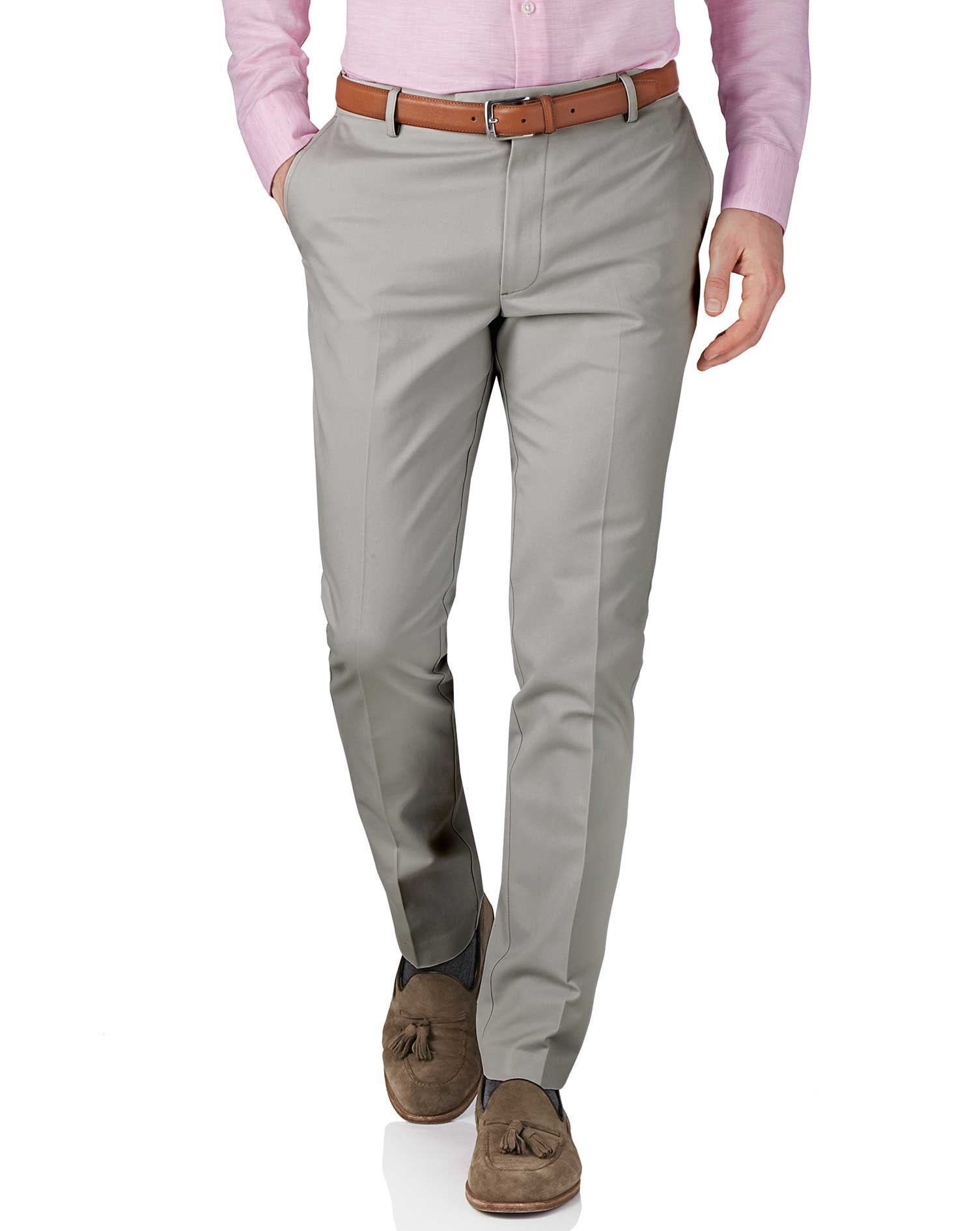 Silver Grey Extra Slim Fit Flat Front Non-Iron Cotton Chino Trousers Size W34 L32 by Charles Tyrwhit