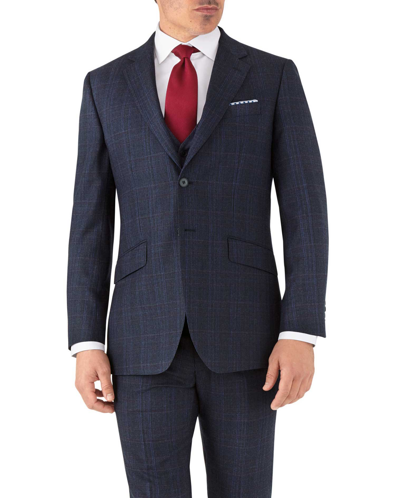 Blue Prince Of Wales Slim Fit Flannel Business Suit Wool Jacket Size 44 Long by Charles Tyrwhitt