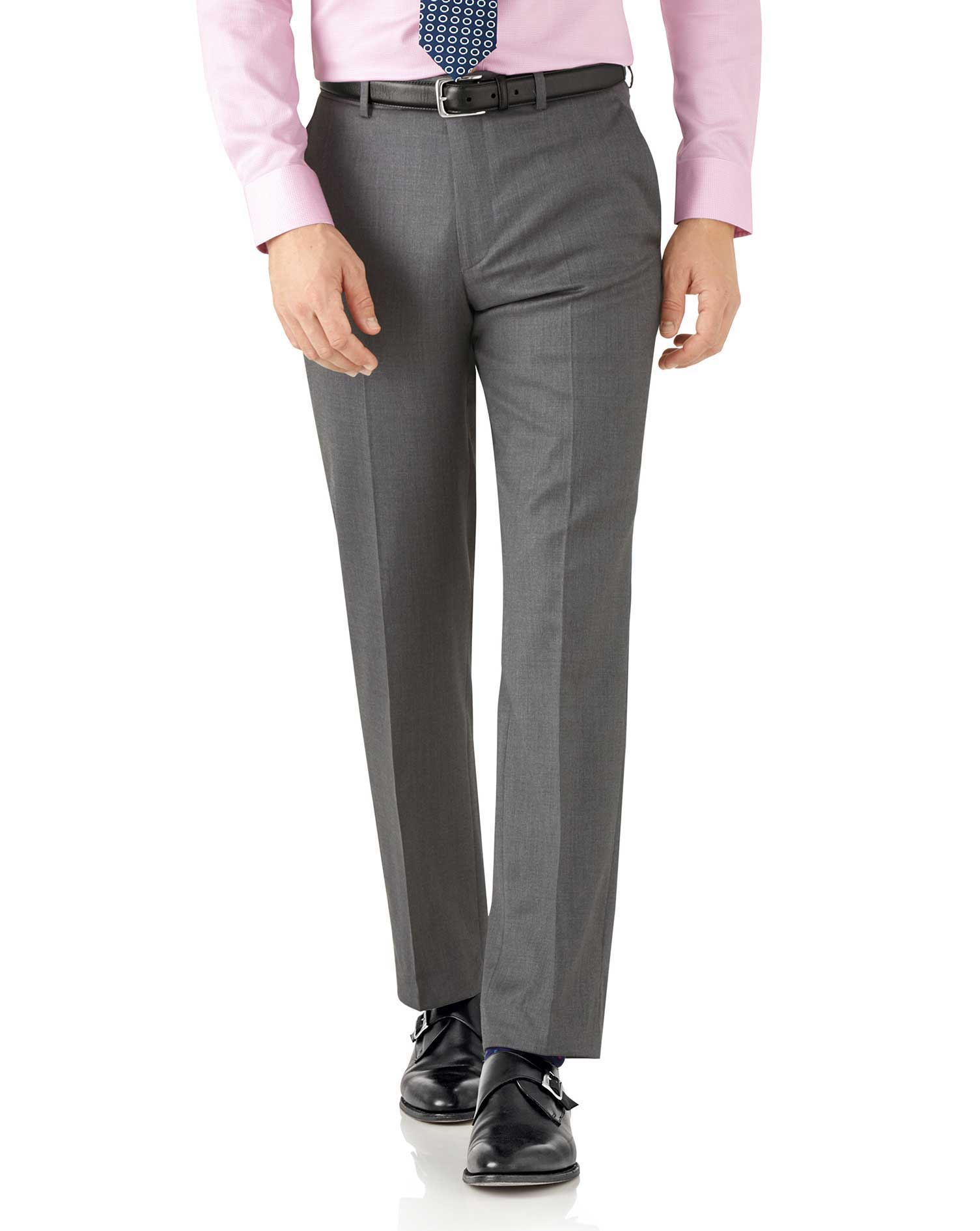 Grey Classic Fit Italian Suit Trousers Size W32 L32 by Charles Tyrwhitt
