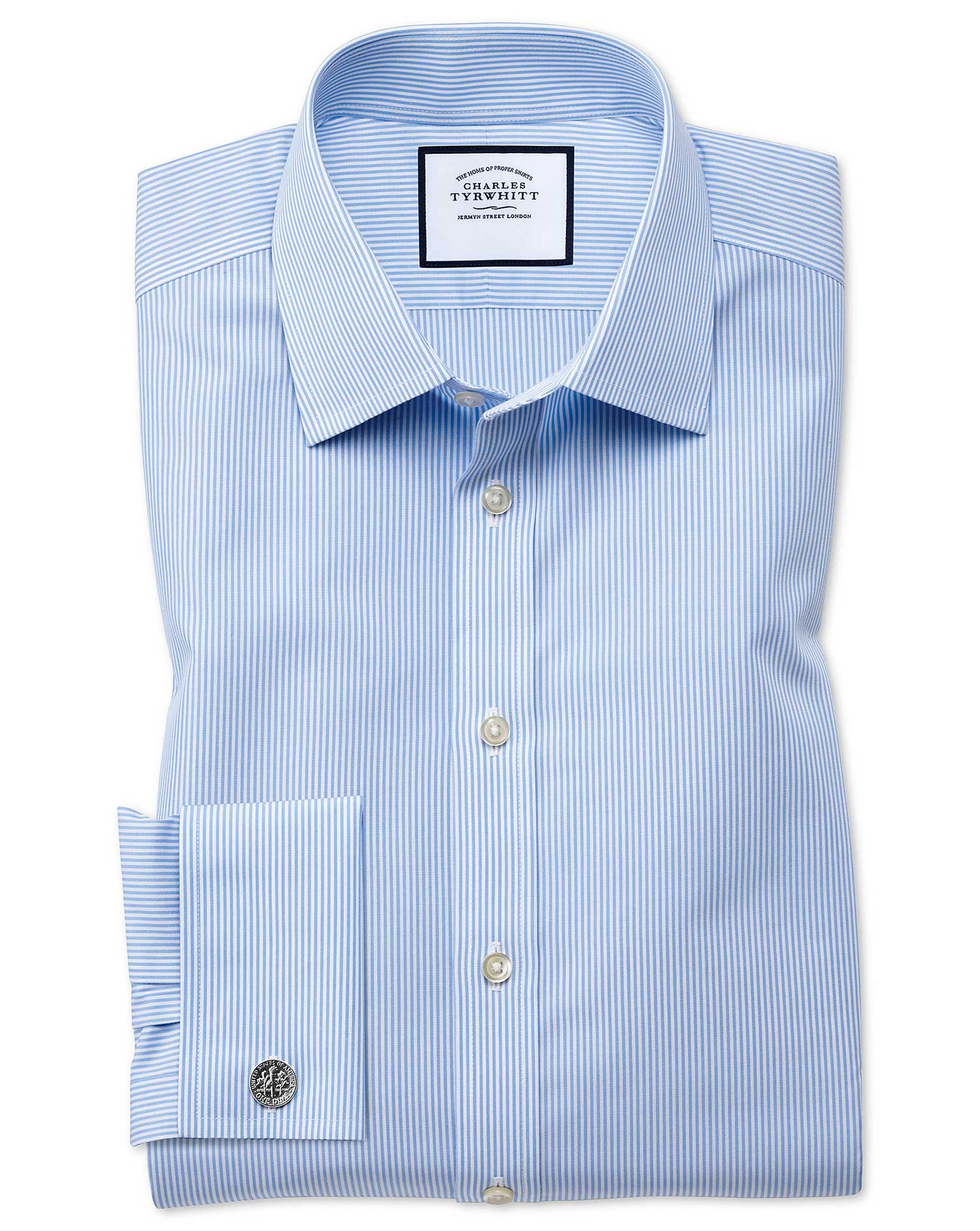 Extra Slim Fit Non-Iron Bengal Stripe Sky Blue Cotton Formal Shirt Single Cuff Size 15.5/32 by Charl