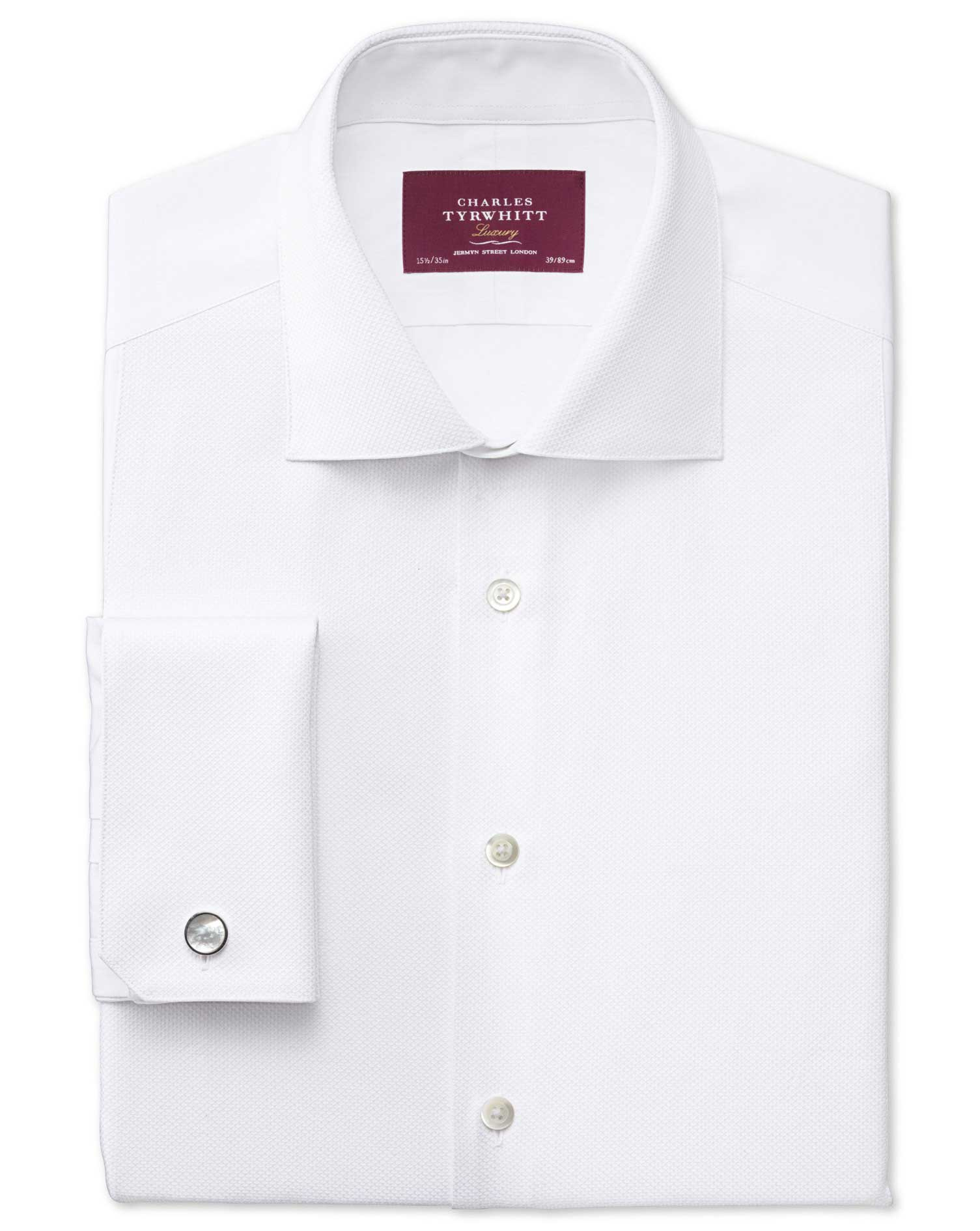 Slim Fit Cutaway Collar Luxury White Evening Egyptian Cotton Formal Shirt Single Cuff Size 16/32 by