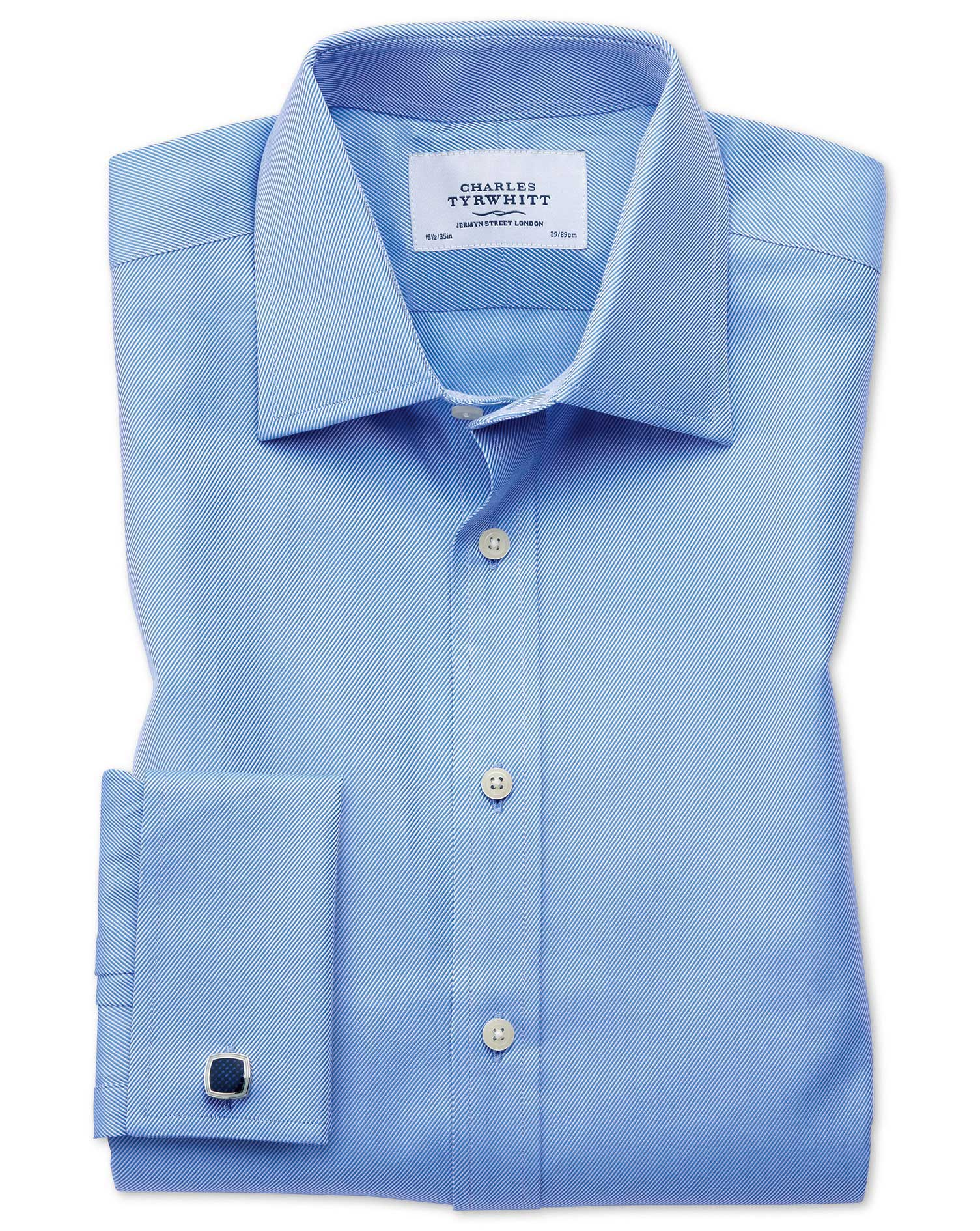 Extra Slim Fit Egyptian Cotton Cavalry Twill Blue Formal Shirt Single Cuff Size 16/36 by Charles Tyr
