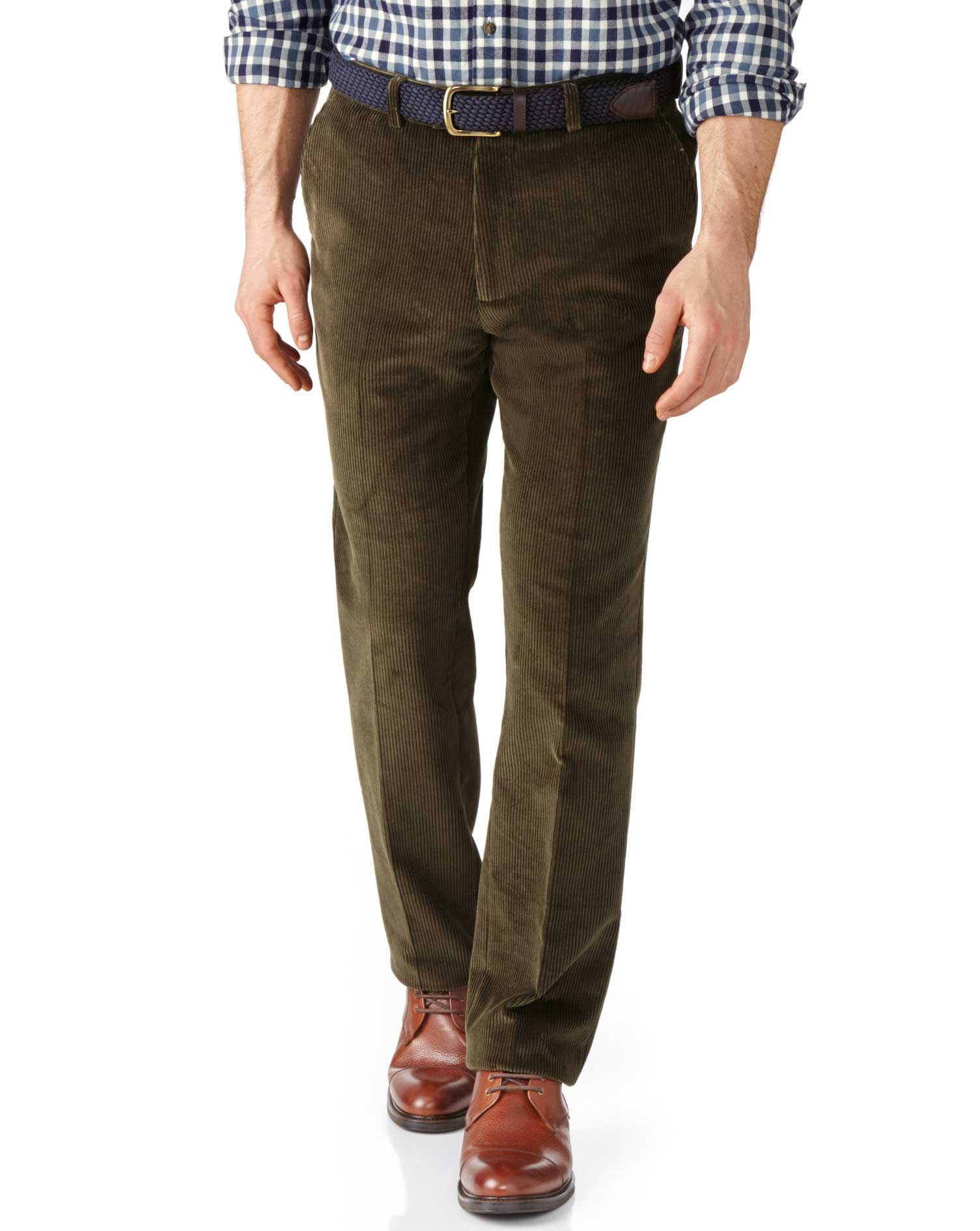 Olive Slim Fit Jumbo Cord Trousers Size W40 L32 by Charles Tyrwhitt