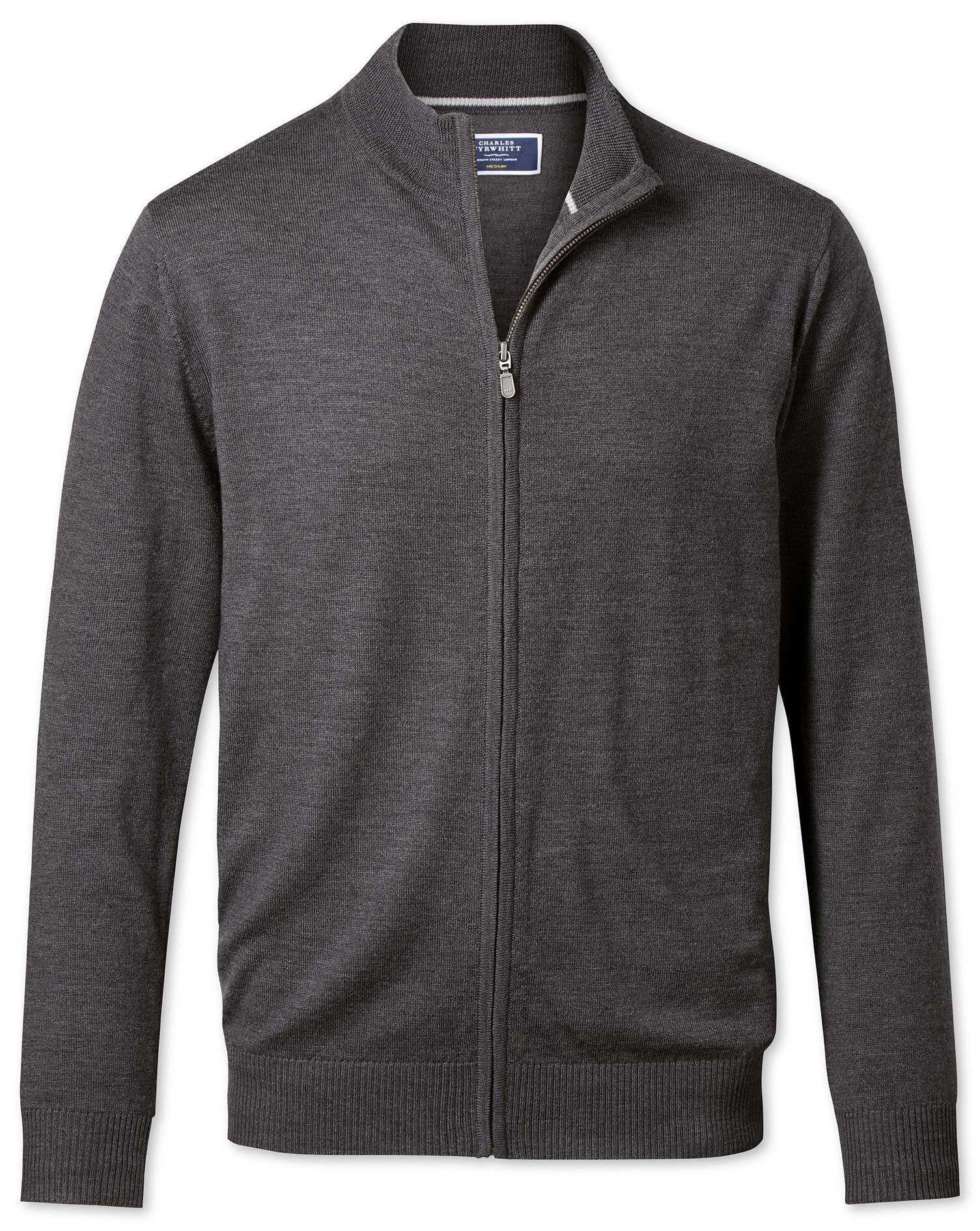 Charcoal Merino Wool Zip Through Cardigan Size XXXL by Charles Tyrwhitt