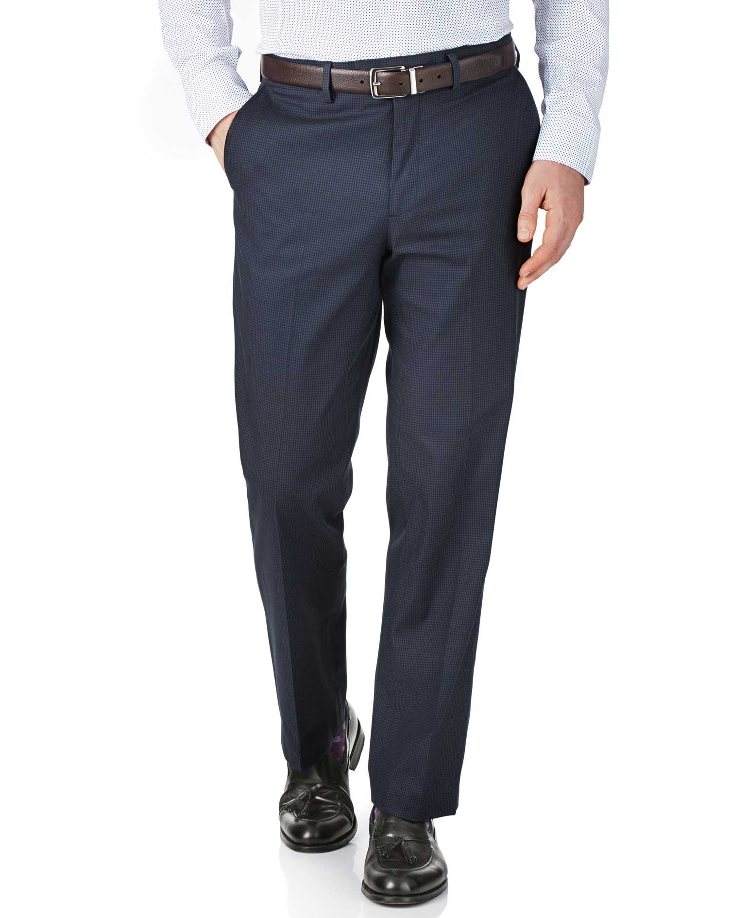 Navy and Blue Classic Fit Puppytooth Trousers Size W38 L30 by Charles Tyrwhitt