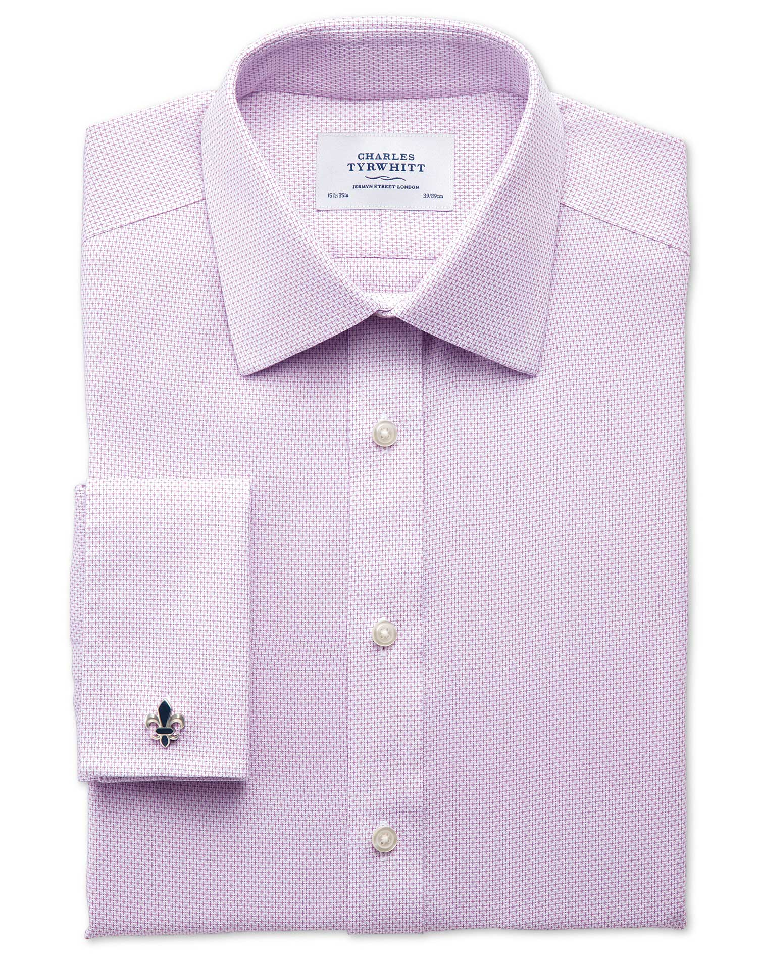 Classic Fit Non-Iron Imperial Weave Lilac Cotton Formal Shirt Double Cuff Size 15.5/34 by Charles Ty
