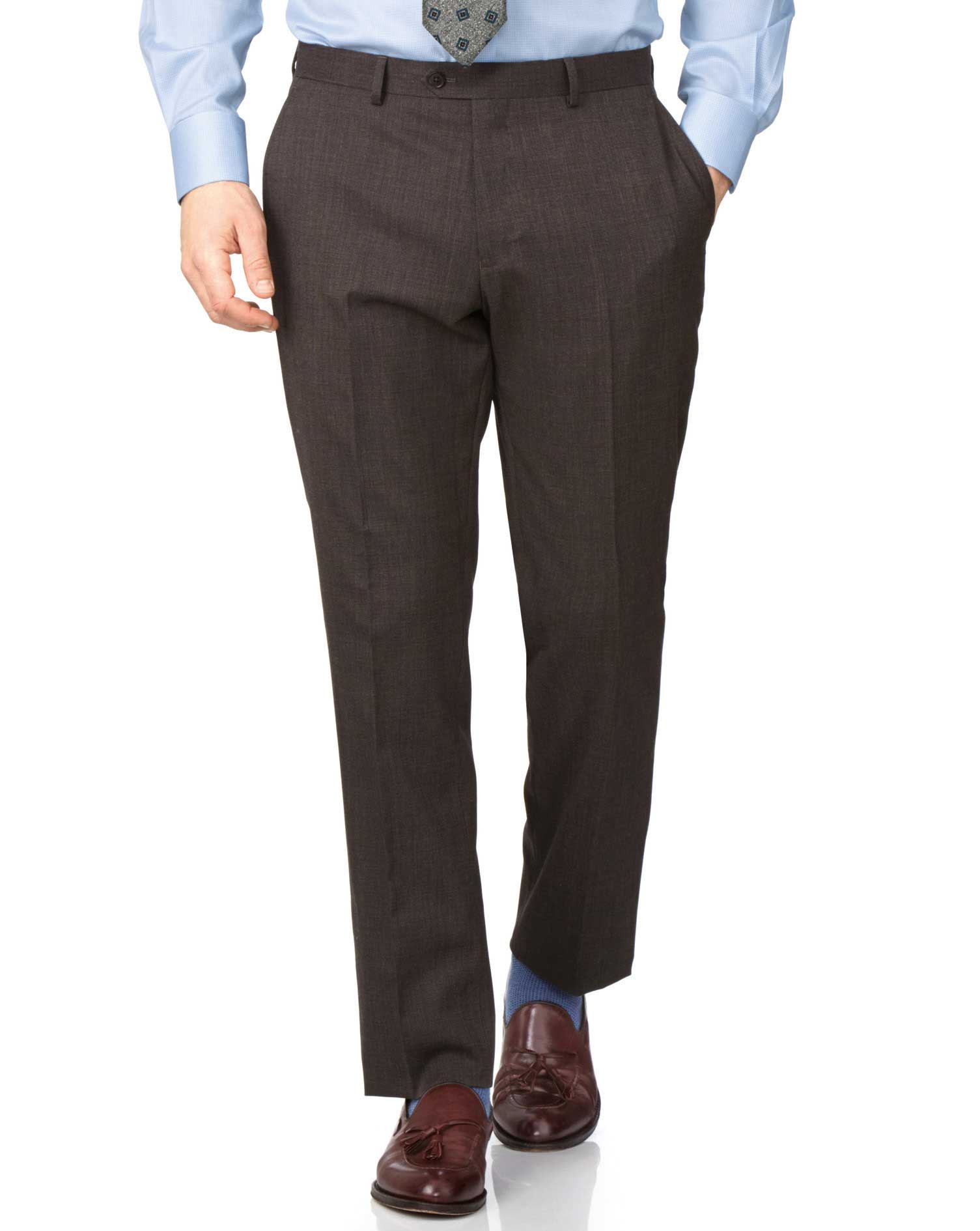 Brown Slim Fit End-On-End Business Suit Trouser Size W38 L32 by Charles Tyrwhitt